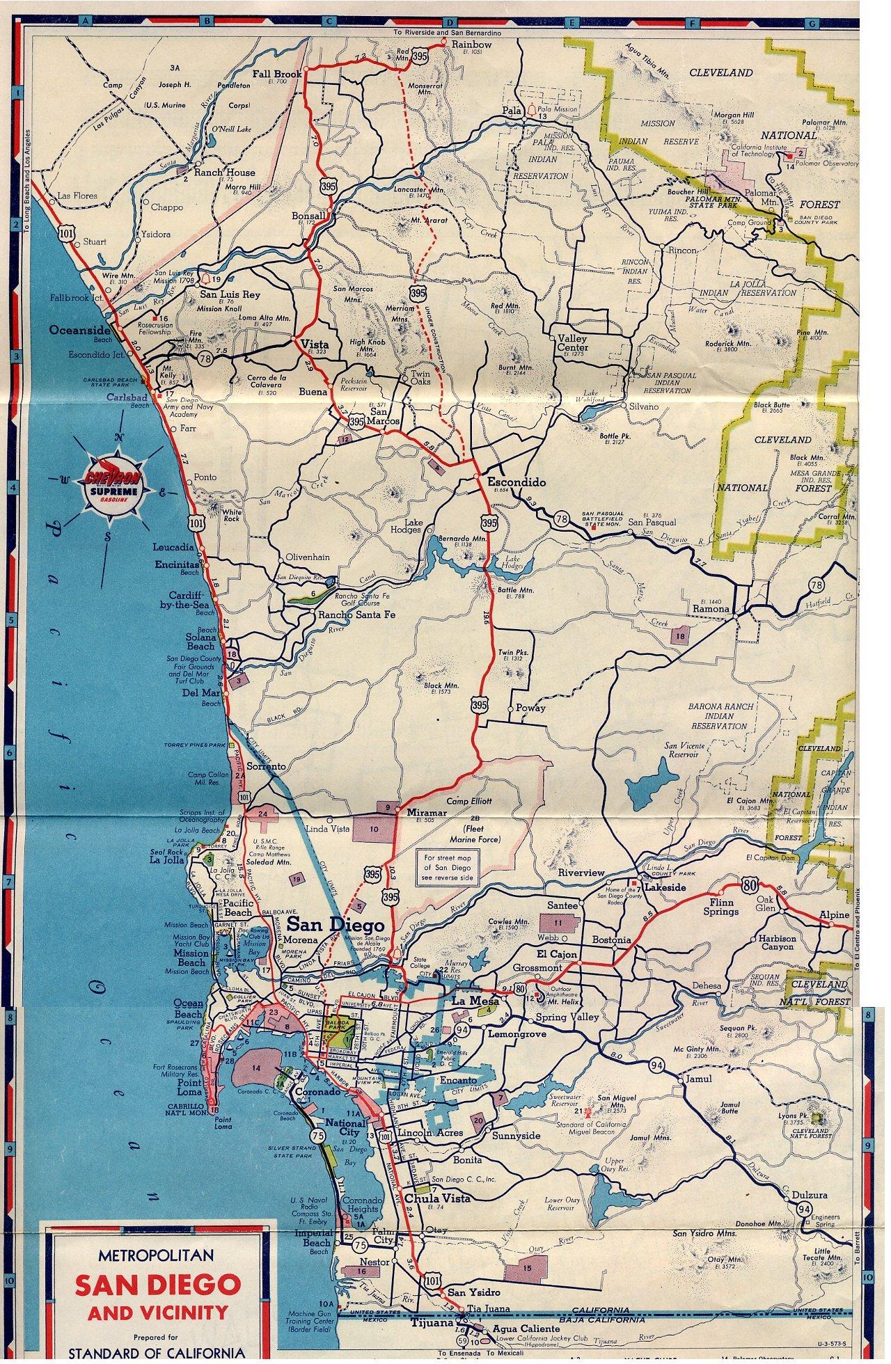 U.s. 395 - San Diego Original & Final Routes - Route 395 California Map