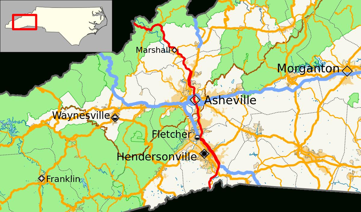U.s. Route 25 In North Carolina - Wikipedia - Printable Map Of Asheville Nc