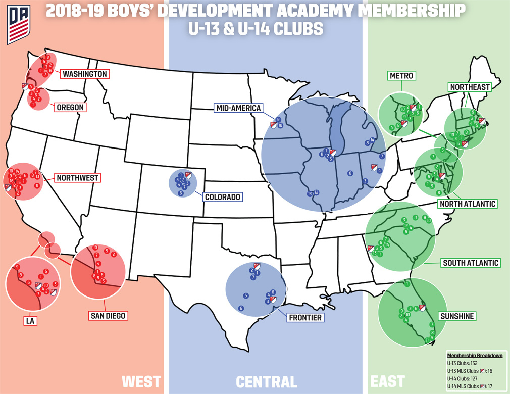U.s. Soccer Development Academy - Map Of Spring Training Sites In Florida