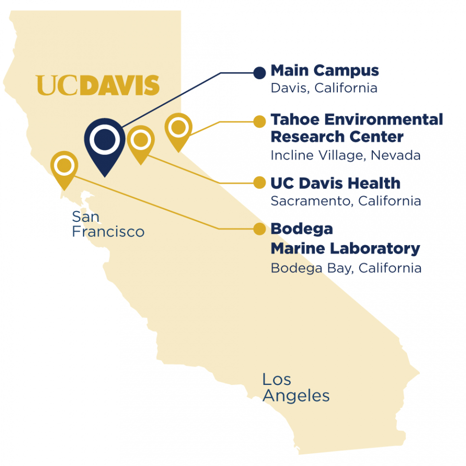 Uc Davis Locations California California State Map Where Is Davis - Davis California Map