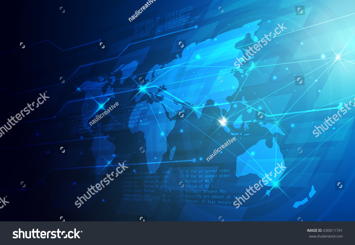 Ultra Hd Abstract World Map Technology Image Vectorielle De Stock - Printable Map Banner