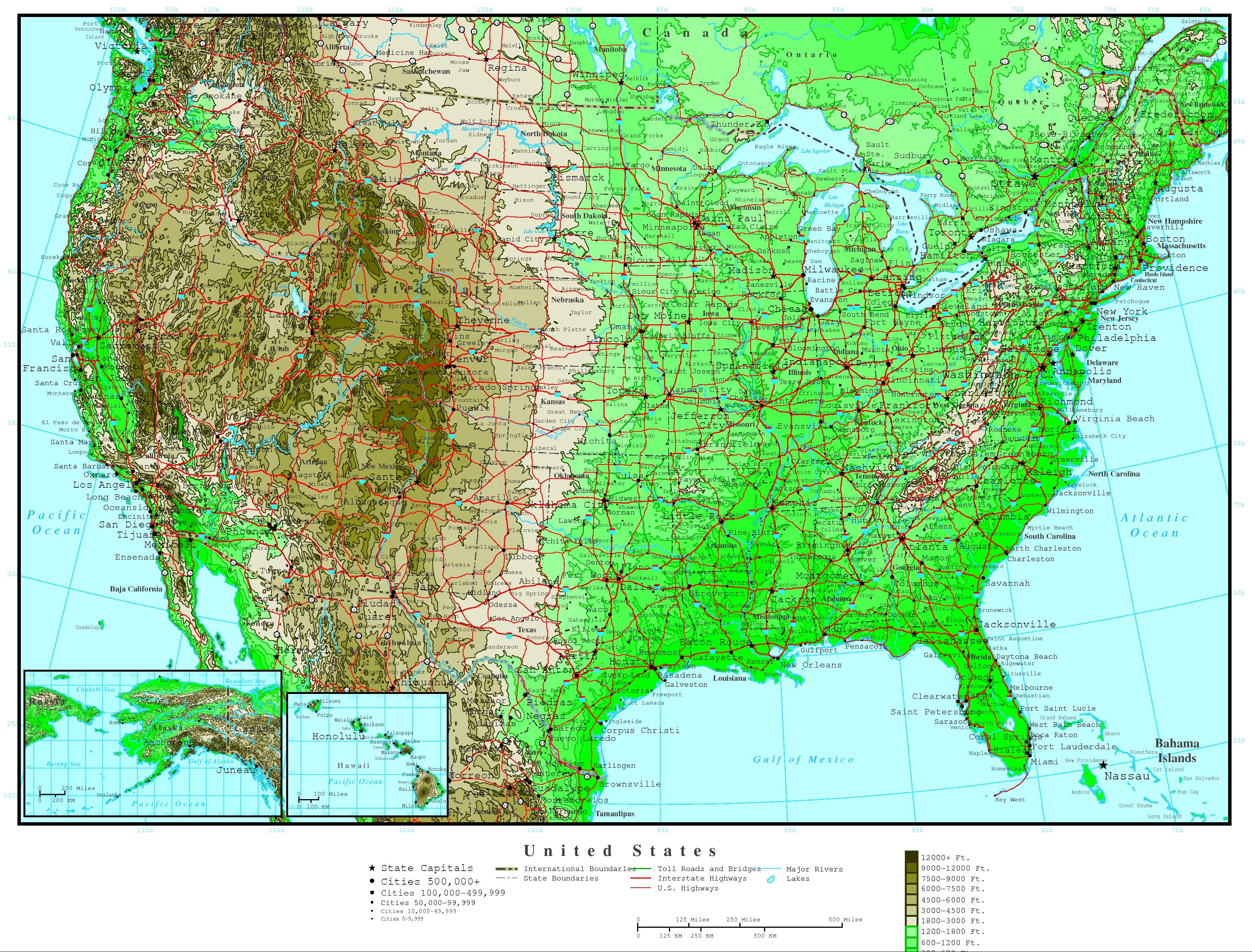 United States Elevation Map - Topographic Map Of Florida Elevation