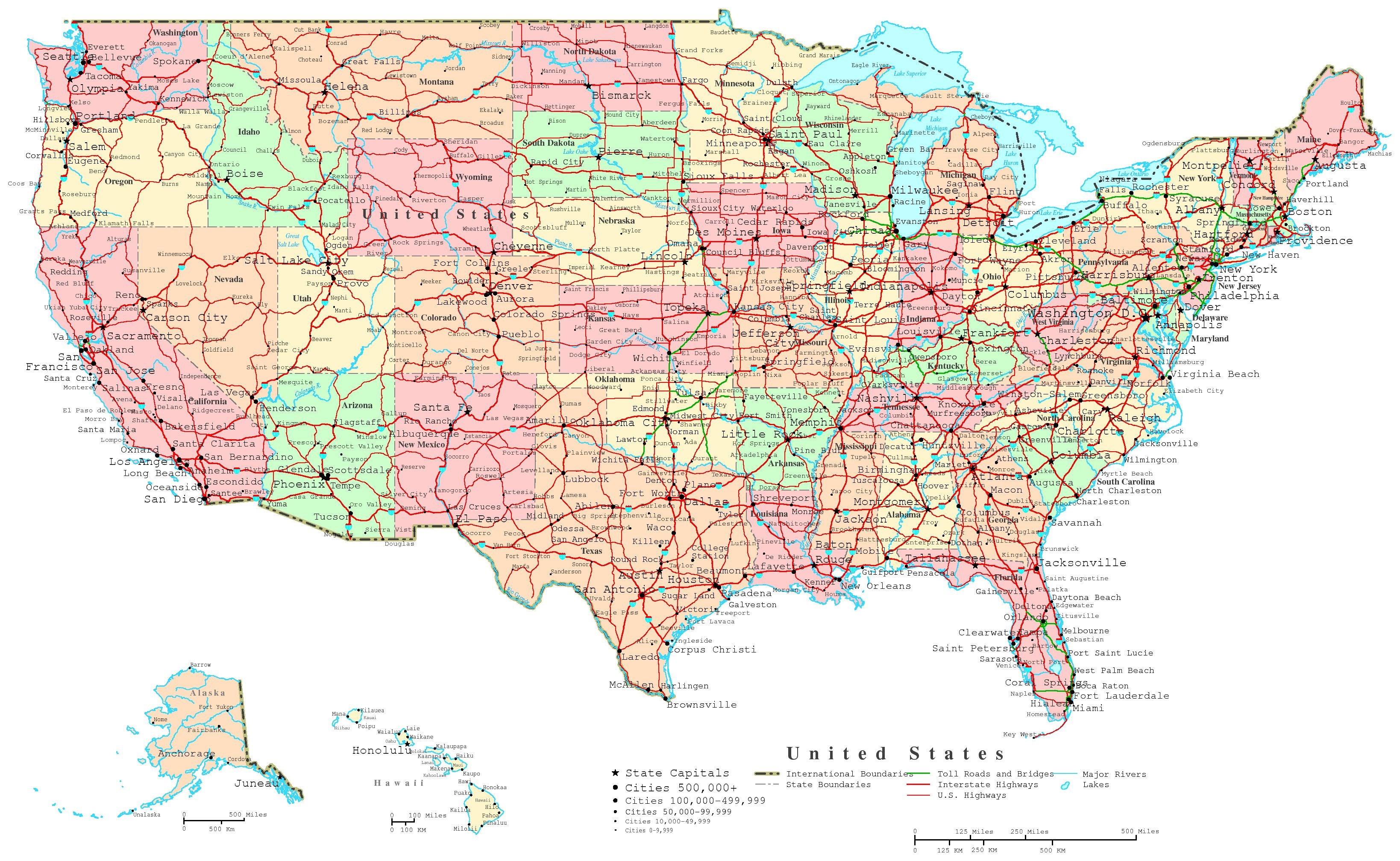 United States Labeled Map - Printable Us Map With Cities