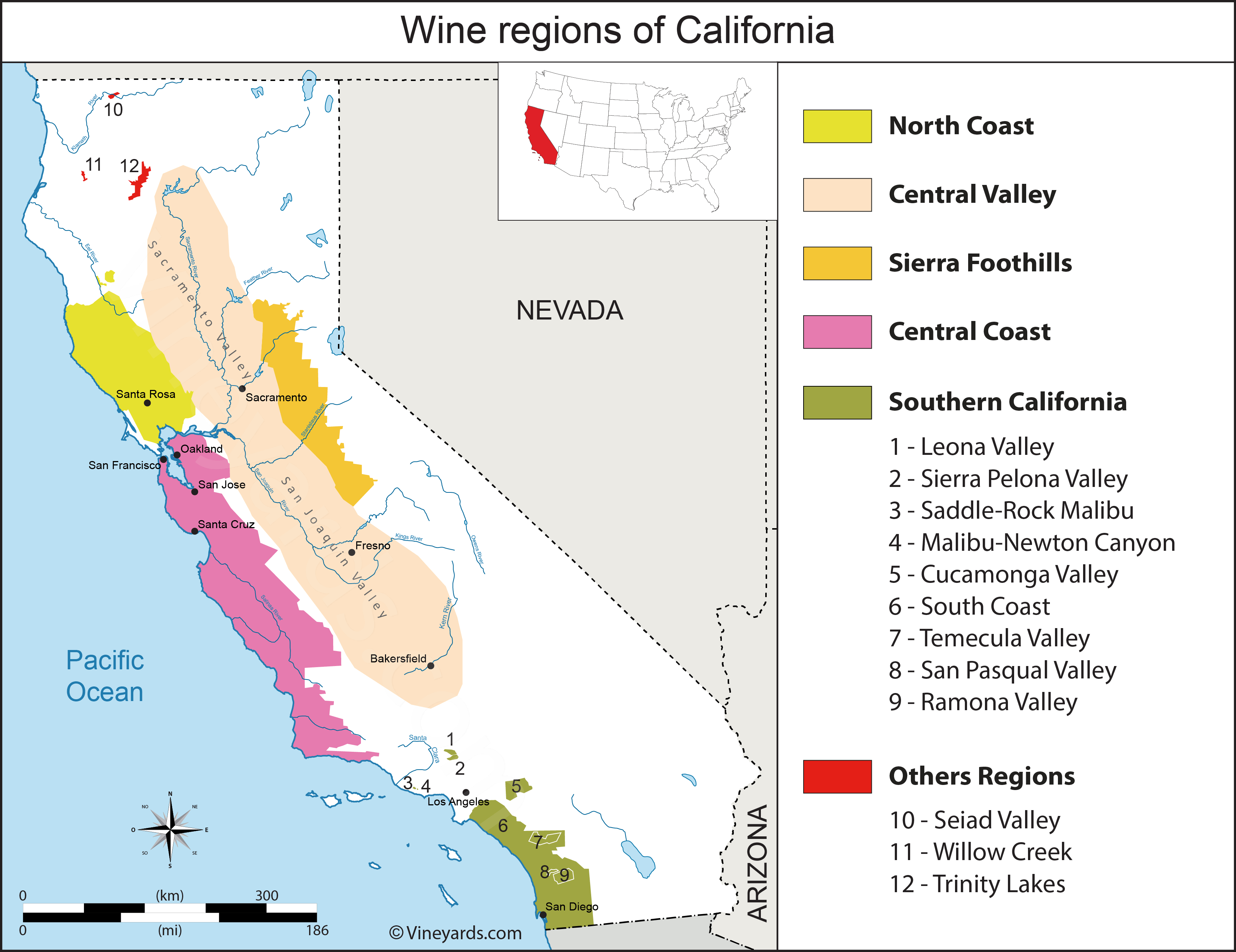 United States Map Of Vineyards Wine Regions - Central California Wine Country Map