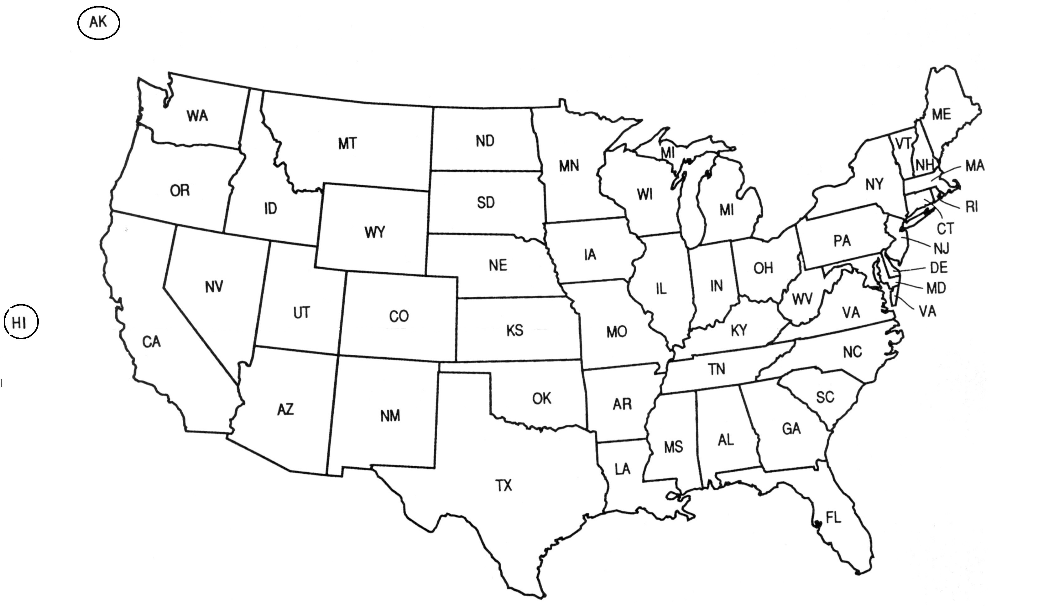 Printable States Blank Us State Map Printable New United ...