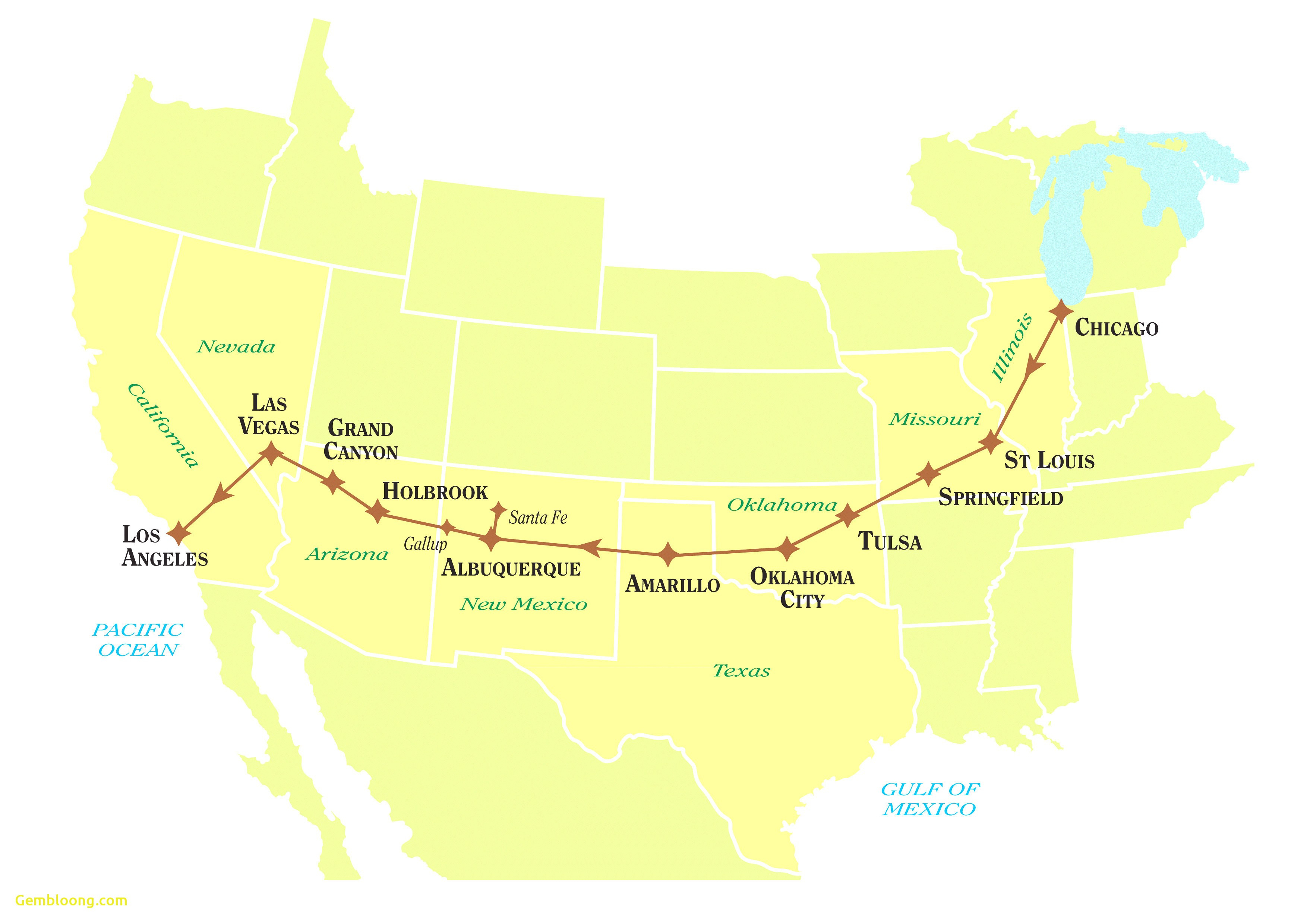 United States Map Showing Route 66 Inspirationa Map Route 66 From - Map Of Route 66 From Chicago To California