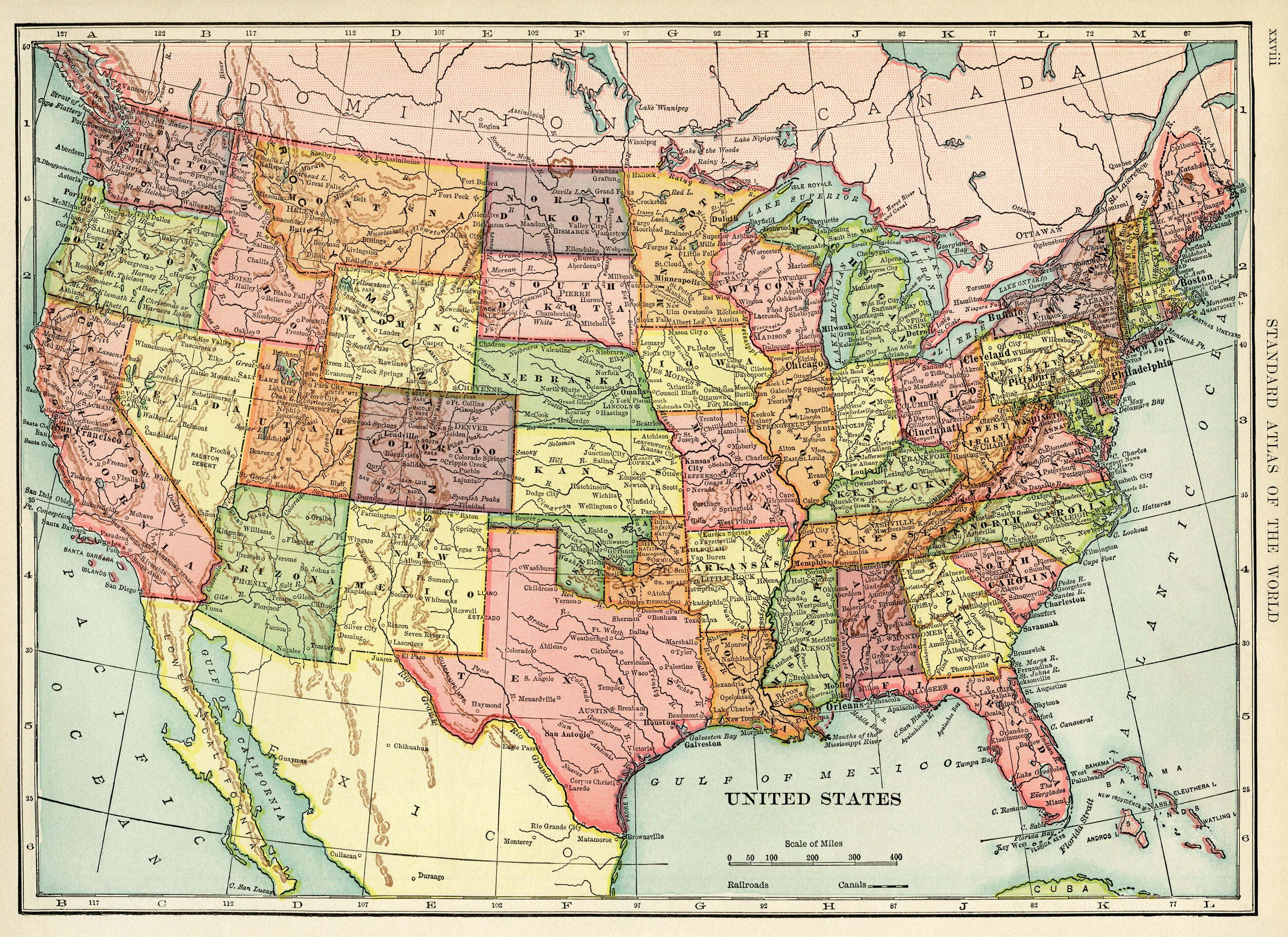 United States Map, Vintage Map Download, Antique Map, History - Vintage Map Printable