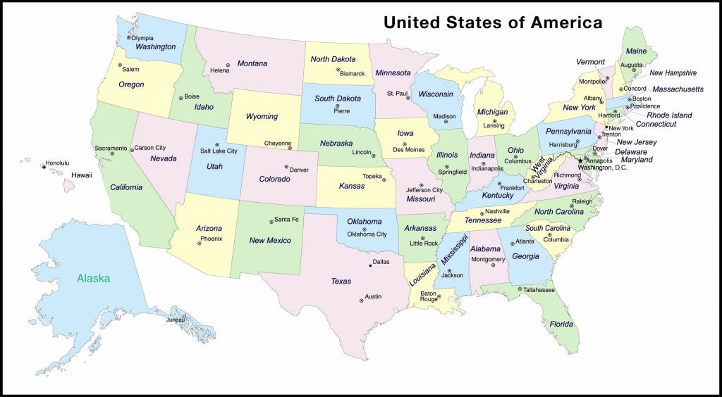 United States Map With State Capitals Printable Fresh Blank