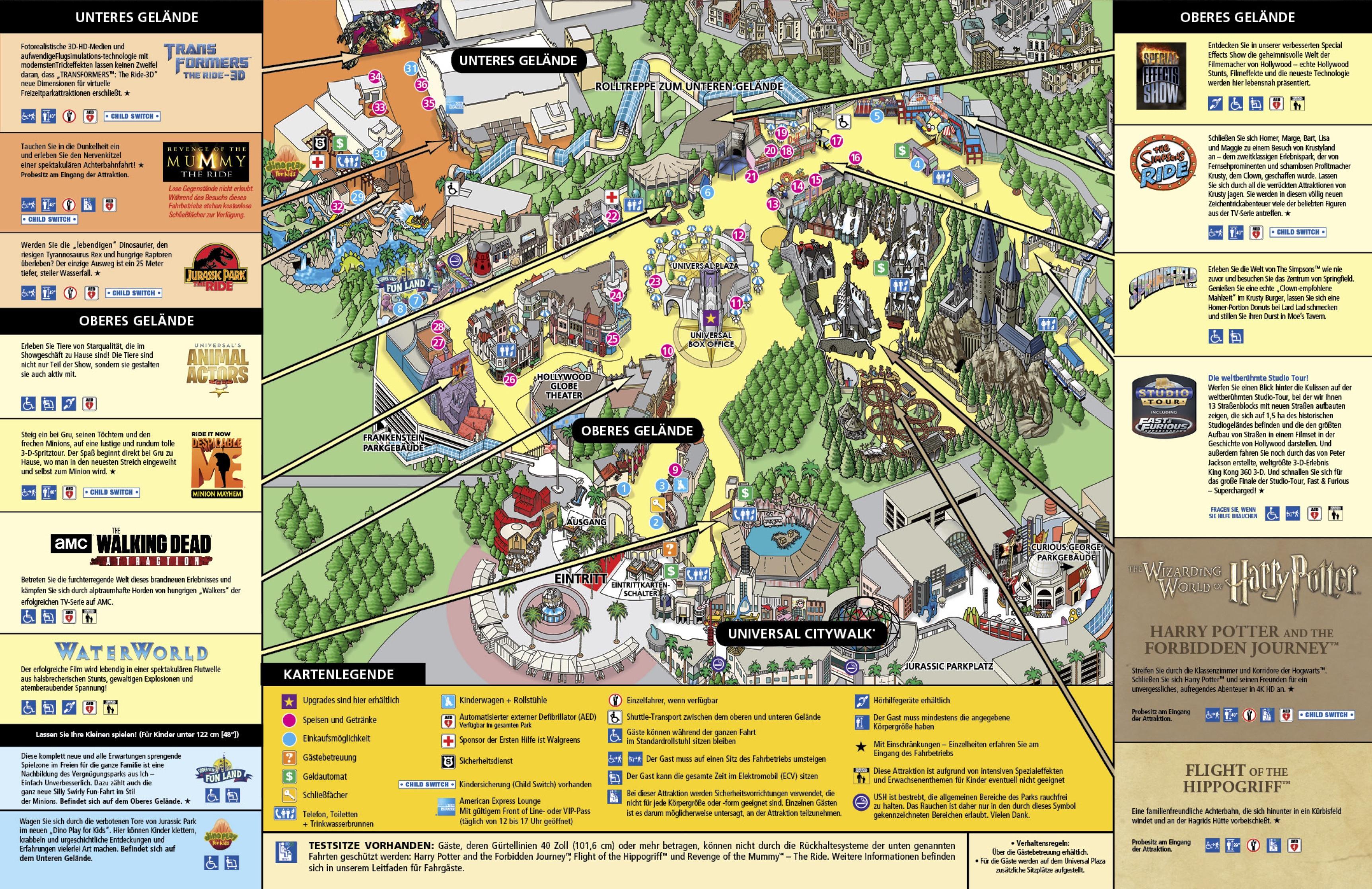 Universal Studios California Park Map Elegant Parkmaps Parkplan - Universal Studios Map California 2018
