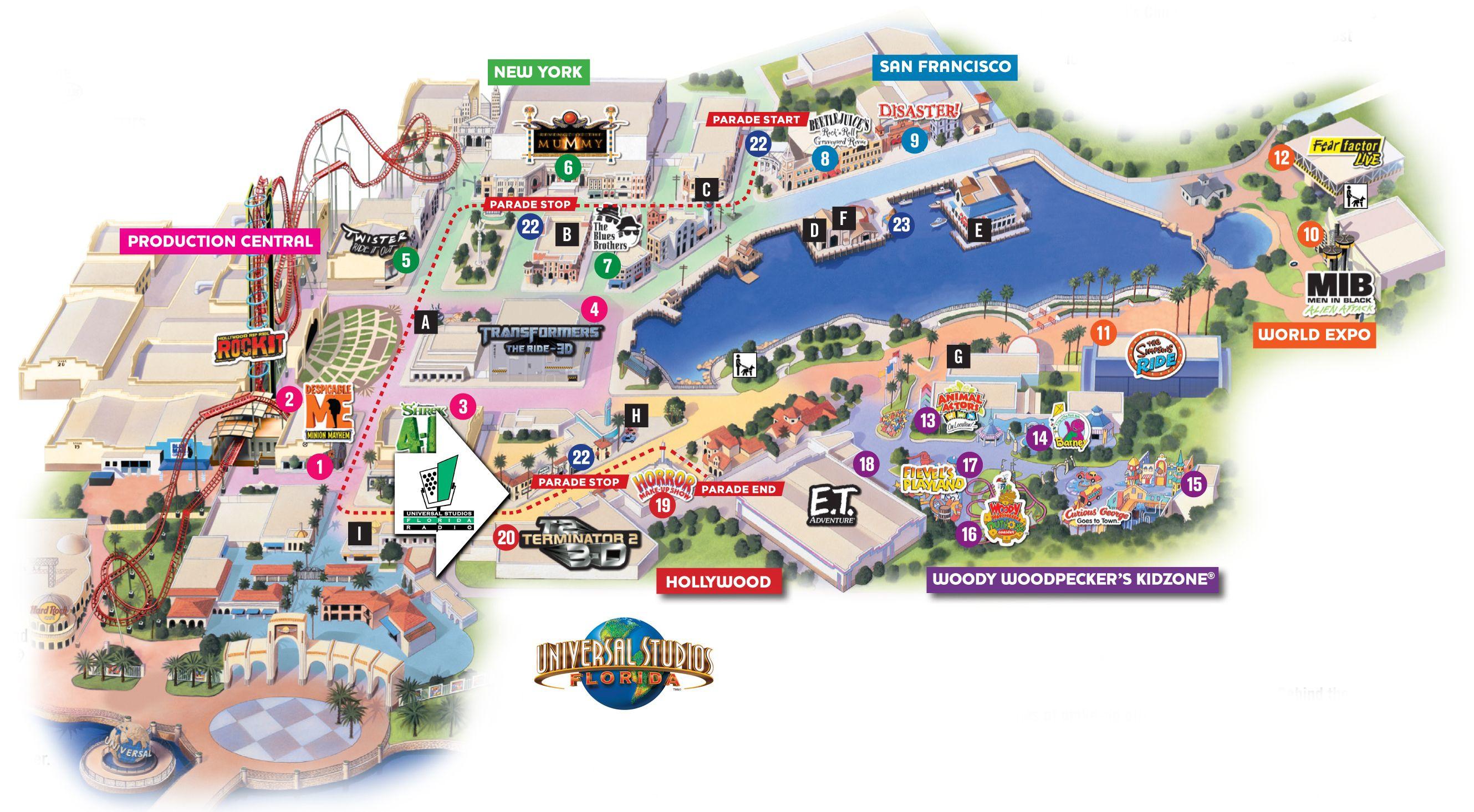 Universal Studios California Park Map Updated Universal Studios - Universal Studios Florida Map 2018