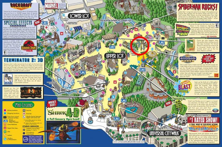Universal Studios California Map Of Park