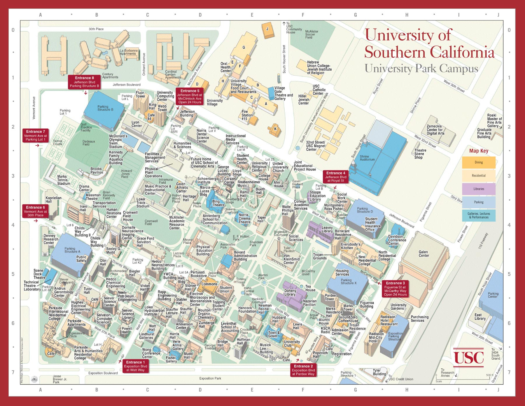 University Of Southern California Campus Map Map With Zone Large Map - University Of Southern California Map