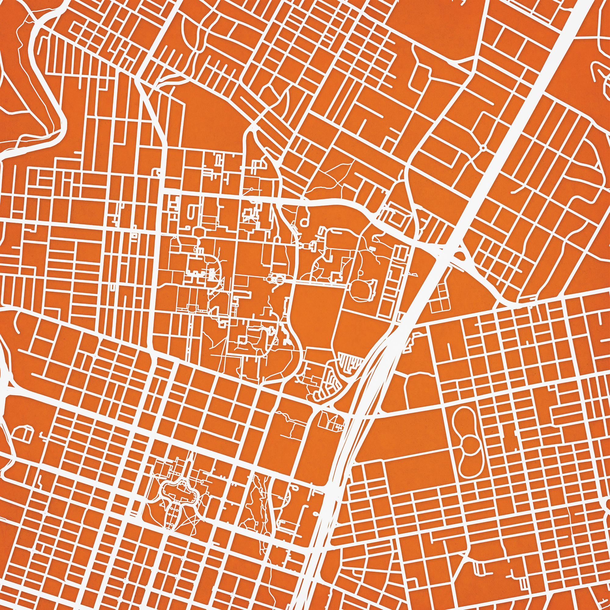 University Of Texas At Austin Campus Map Art - The Map Shop - Map Of Texas Art