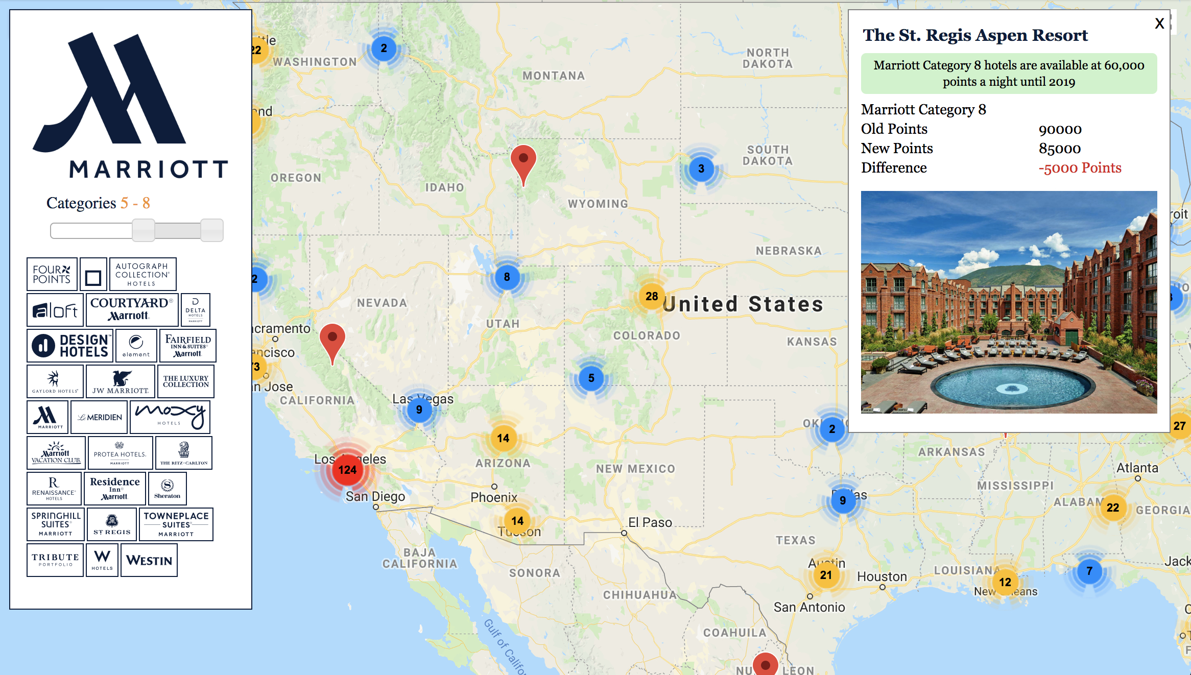 Updated Marriott Map With New Category Changes And Starwood Hotels - Spg Hotels California Map