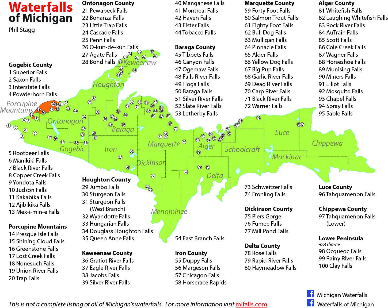 Upper Peninsula Of Michigan Waterfall Map | Michigan's Upper - Printable Map Of Upper Peninsula Michigan