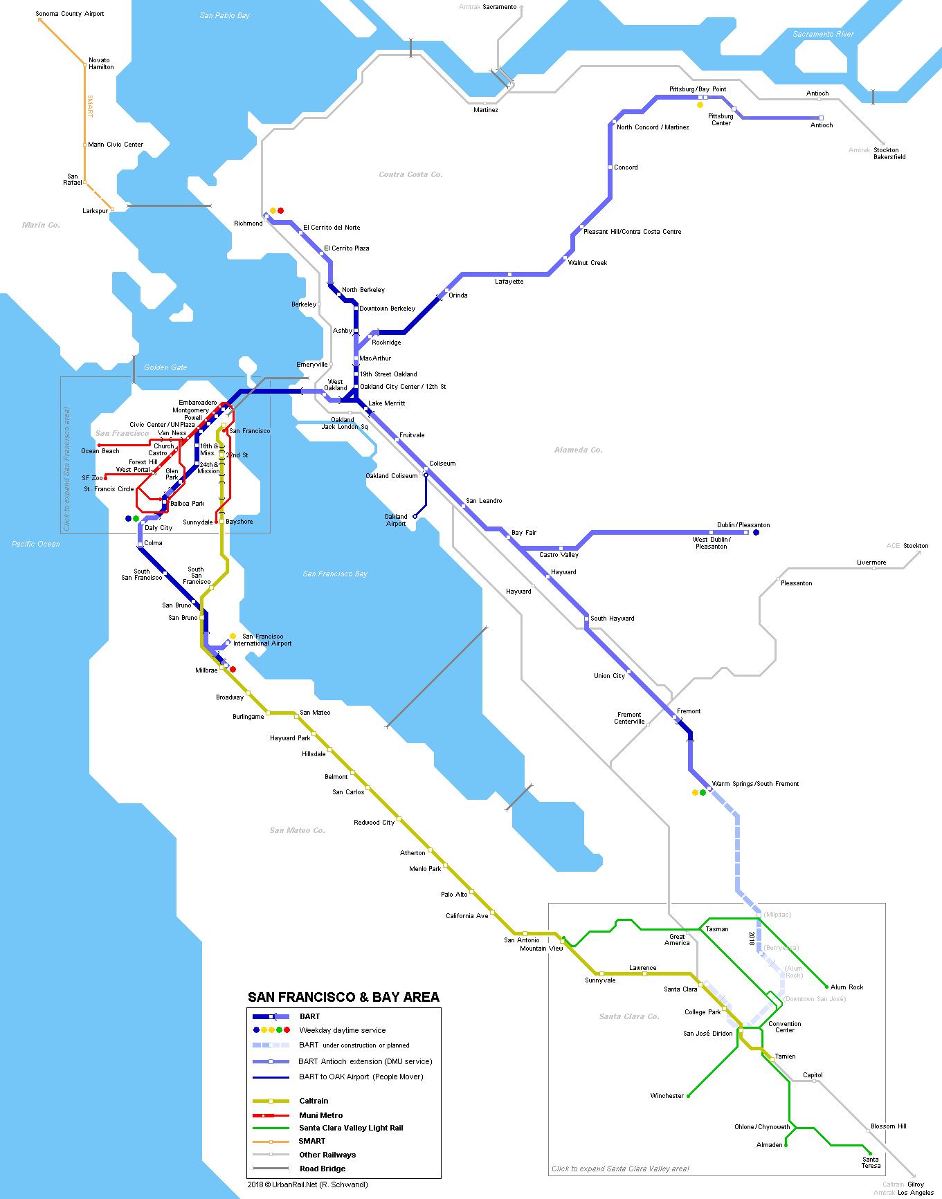 Urbanrail > North America > Usa > California > San Francisco - A Map Of San Francisco California