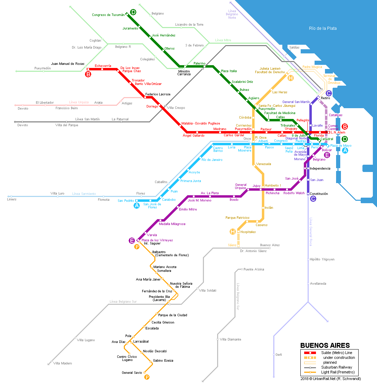 Urbanrail > South America > Argentina > Buenos Aires Subte (Metro) - Florida Street Buenos Aires Map