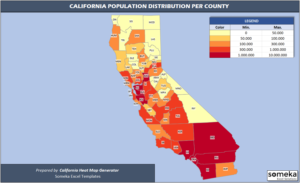 Us Counties Heat Map Generators - Automatic Coloring - Editable Shapes - Southern California Heat Map