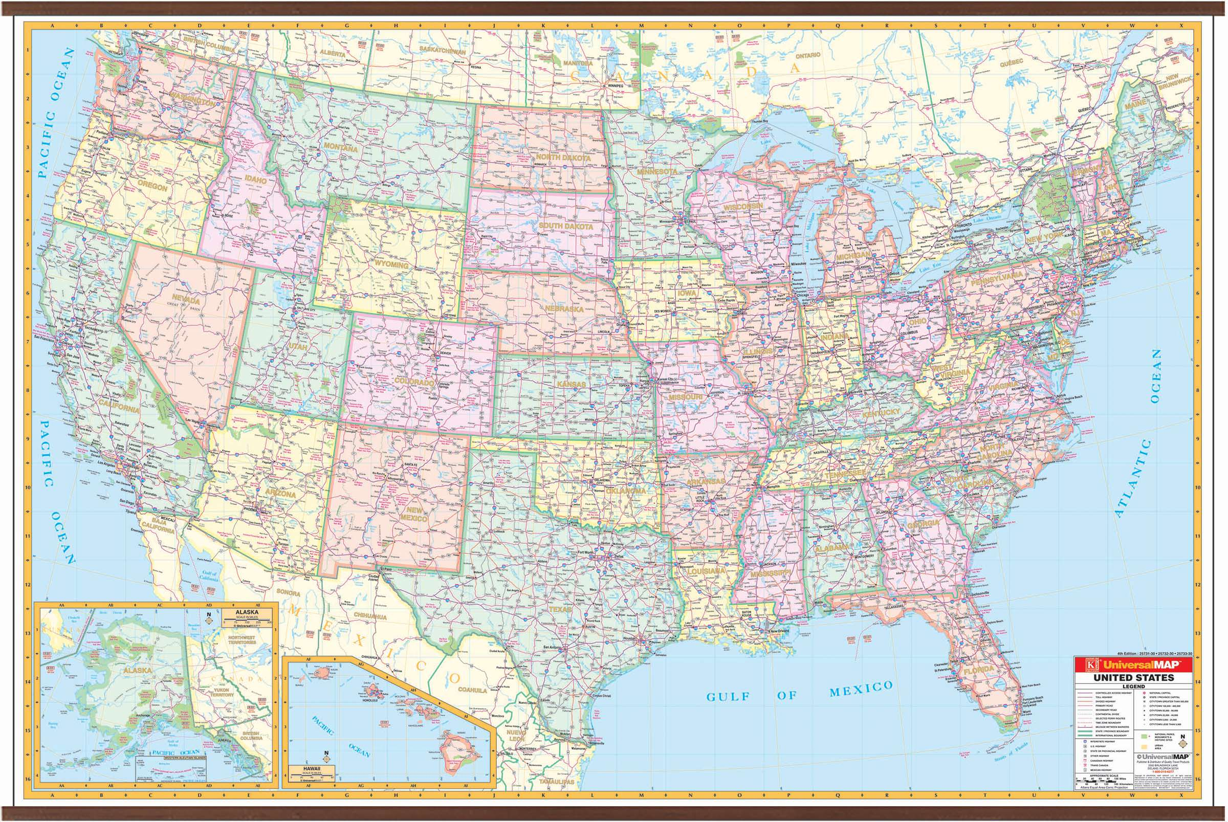 Us Interstate Wall Map – Kappa Map Group - Florida Wall Maps ...