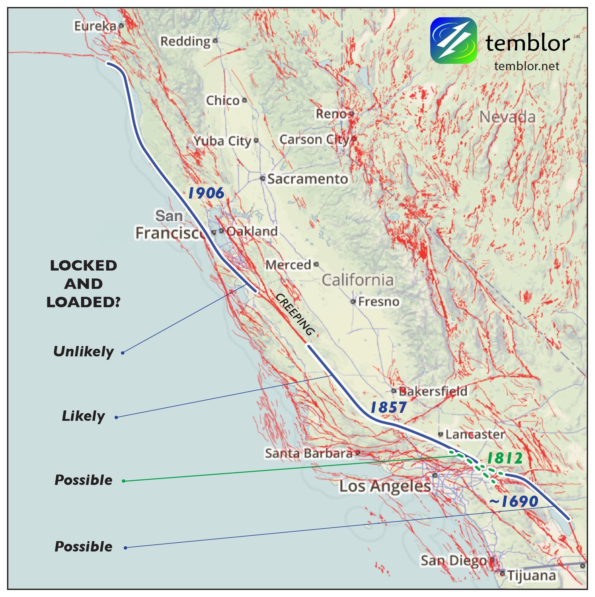 Us Map Earthquake Fault Lines Fault Lines Awesome Map San Andreas - Map Of The San Andreas Fault In Southern California