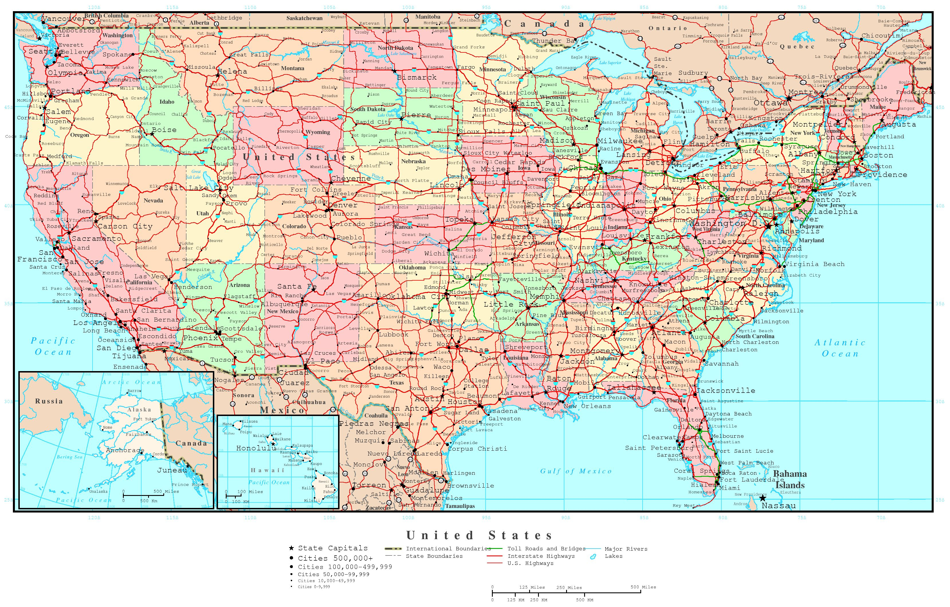Us Map Of States Printable Large Detailed Political And Road Map Of - Printable Us Road Map