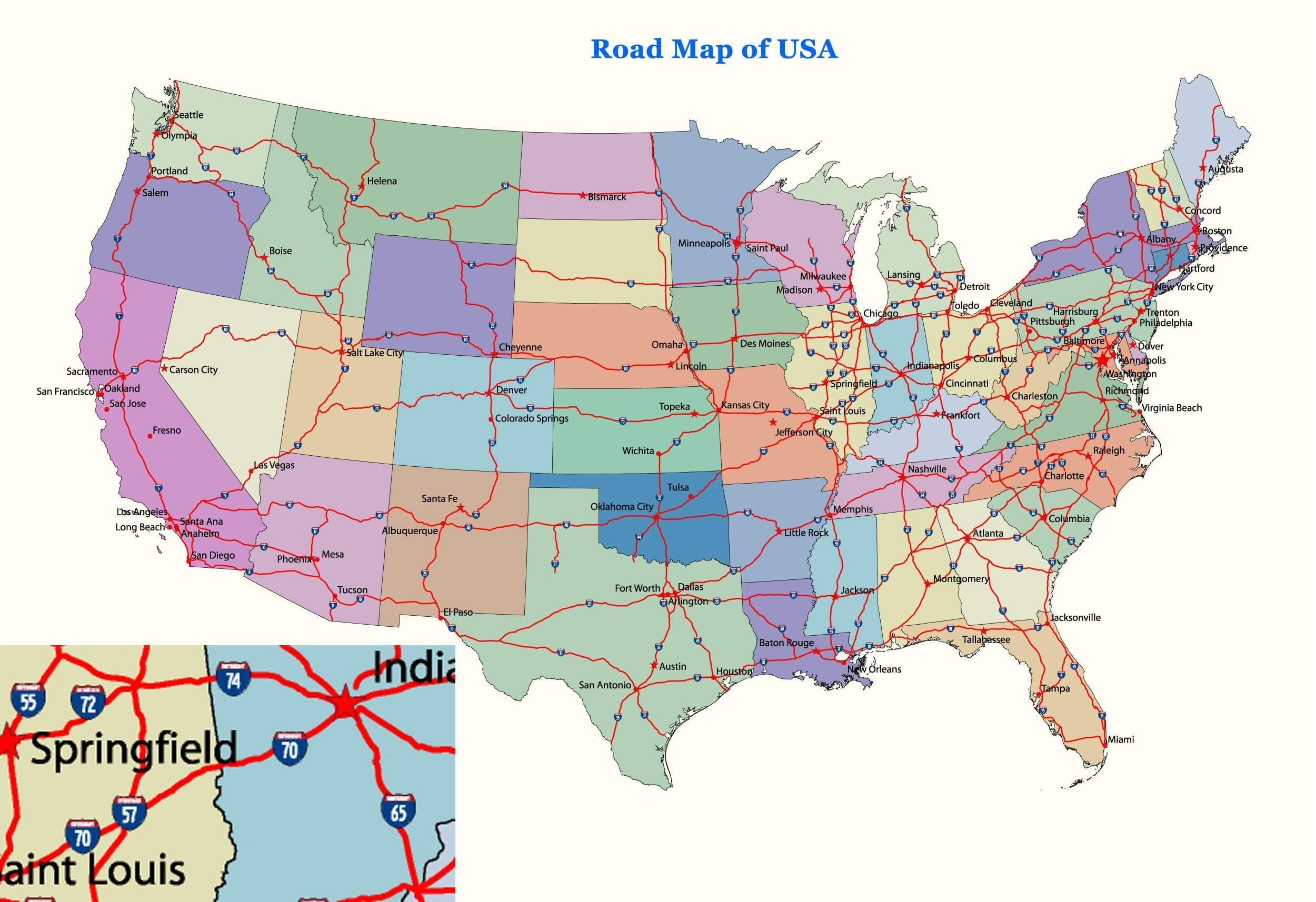 Us Map Showing Interstate Highways Beautiful Printable Us Map With - Printable State Maps With Highways