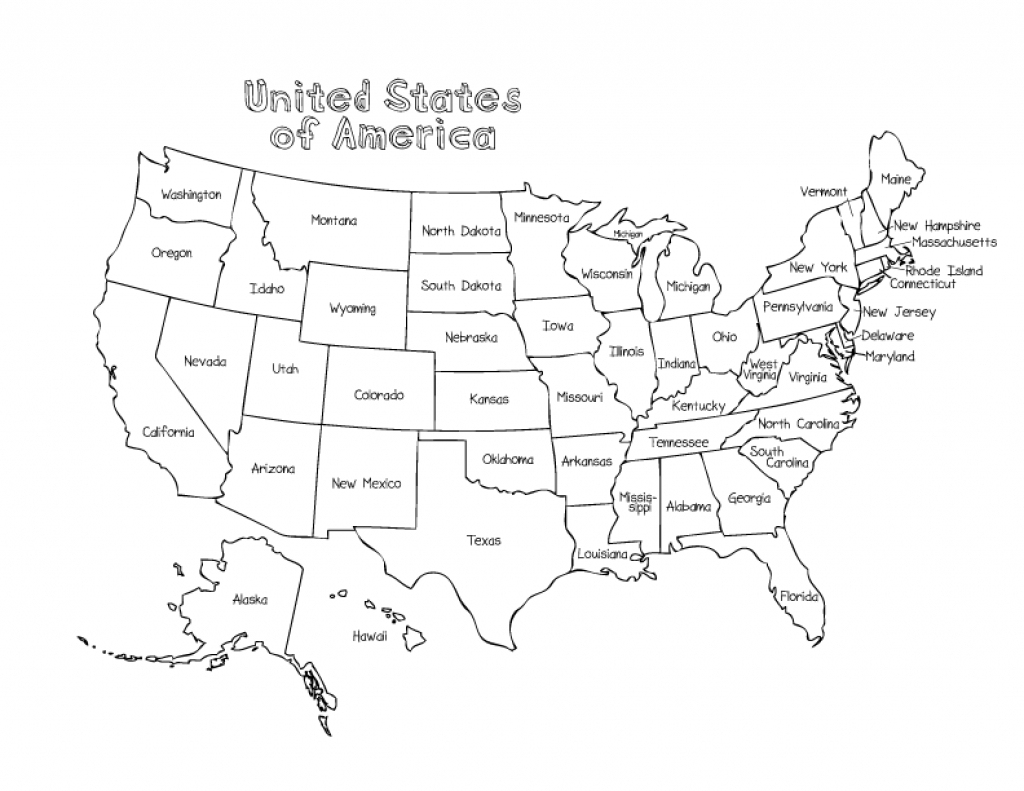Us Map Without State Names Printable Coloring Map Us And Canada - Printable Children's Map Of The United States