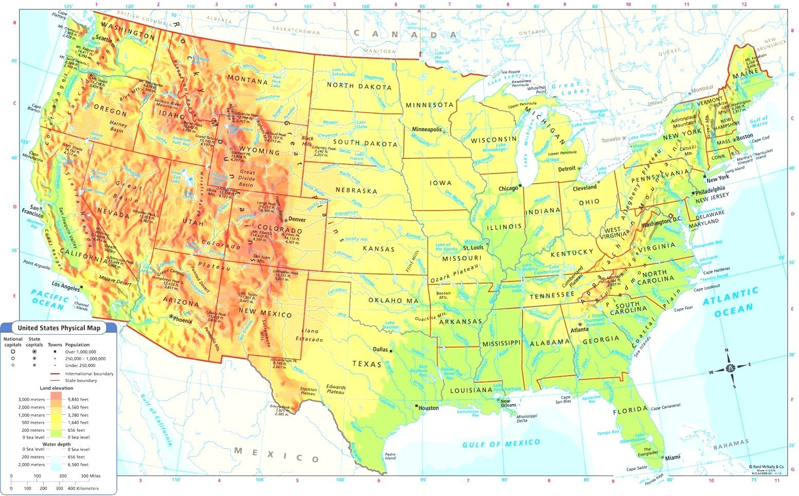 Us Physical Map Rivers In United States With And Labeled At On New - Google Maps Beaumont Texas