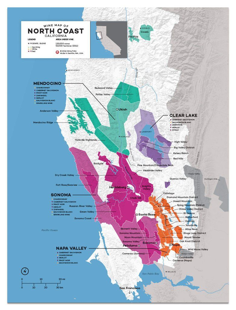 Usa: California, North Coast Wine Map In 2019 | Drinks | Pinterest - California Wine Map Poster