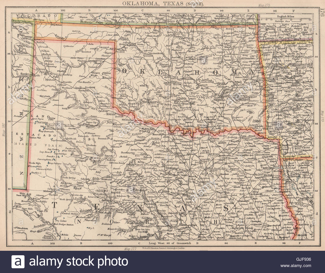 Usa South Central. Oklahoma & North Texas. Railroads. Johnston, 1906 - Map Of Oklahoma And Texas