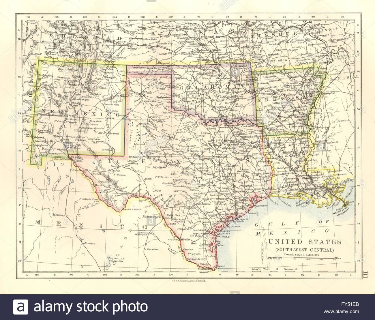 Usa South Central.texas Oklahoma Arkansas New Mexico Louisiana, 1920 - Map Of New Mexico And Texas