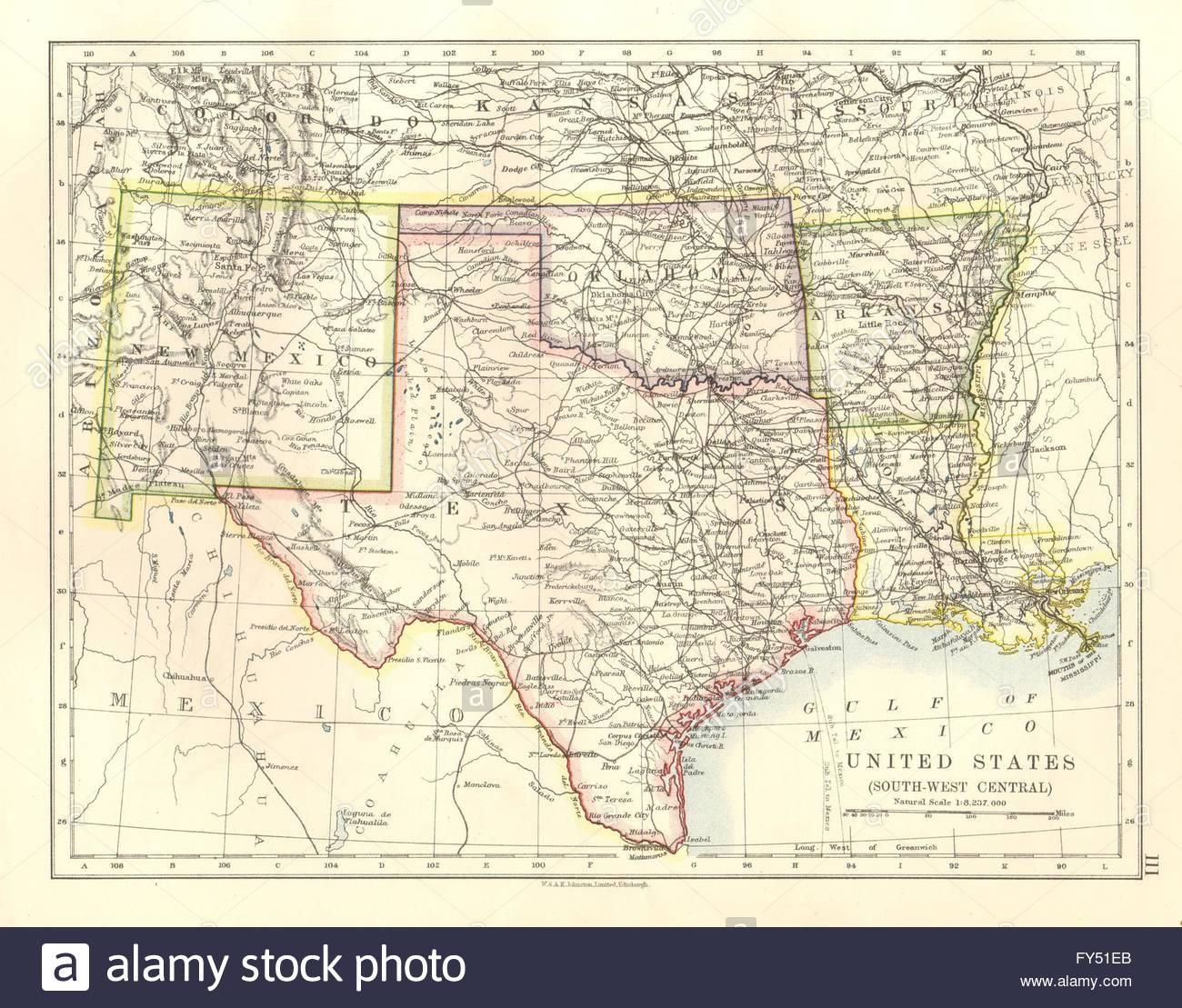 Usa South Central.texas Oklahoma Arkansas New Mexico Louisiana, 1920 - Texas New Mexico Map