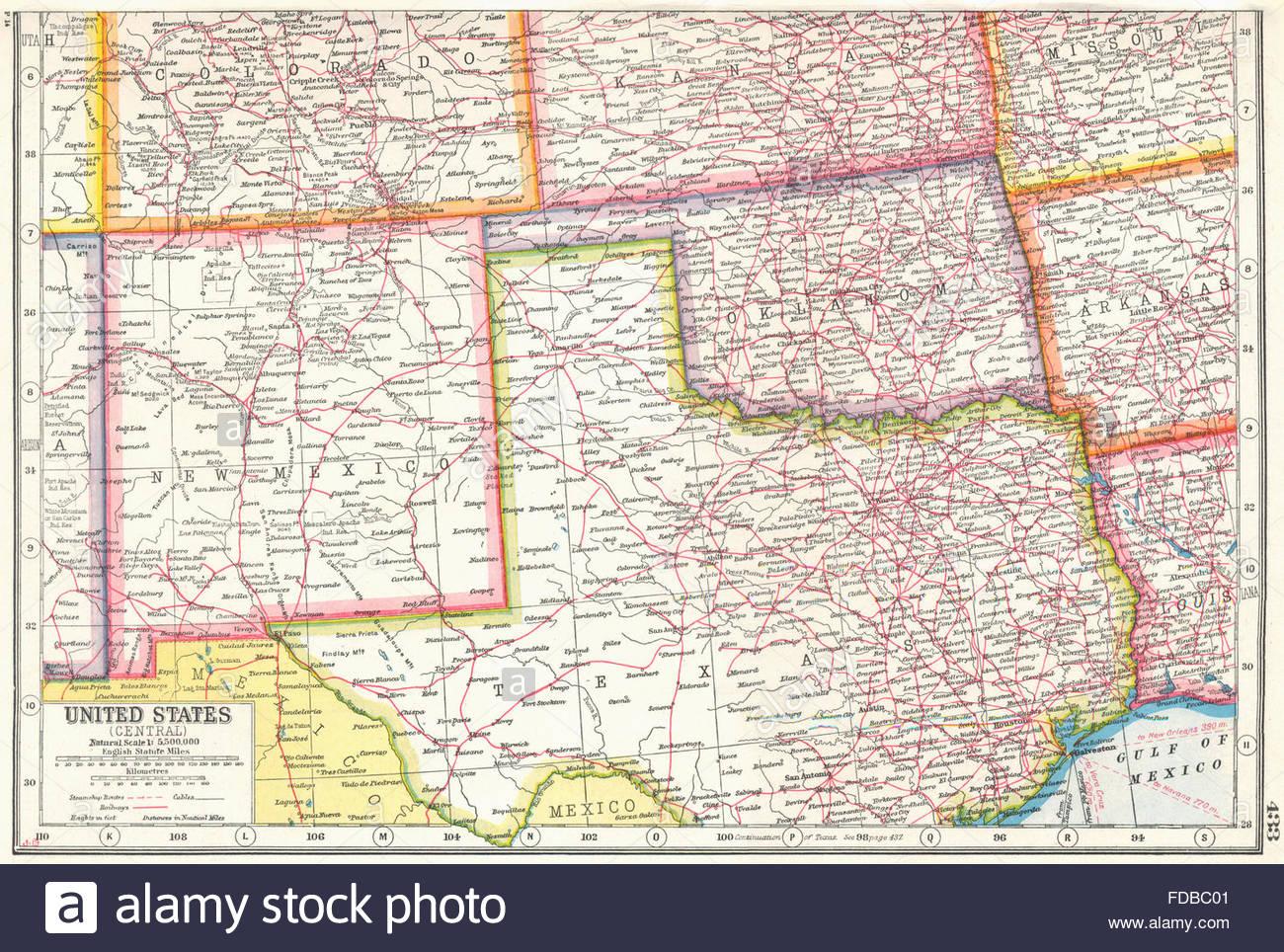 Usa South Centre: New Mexico Oklahoma North Texas. Harmsworth, 1920 - Map Of New Mexico And Texas