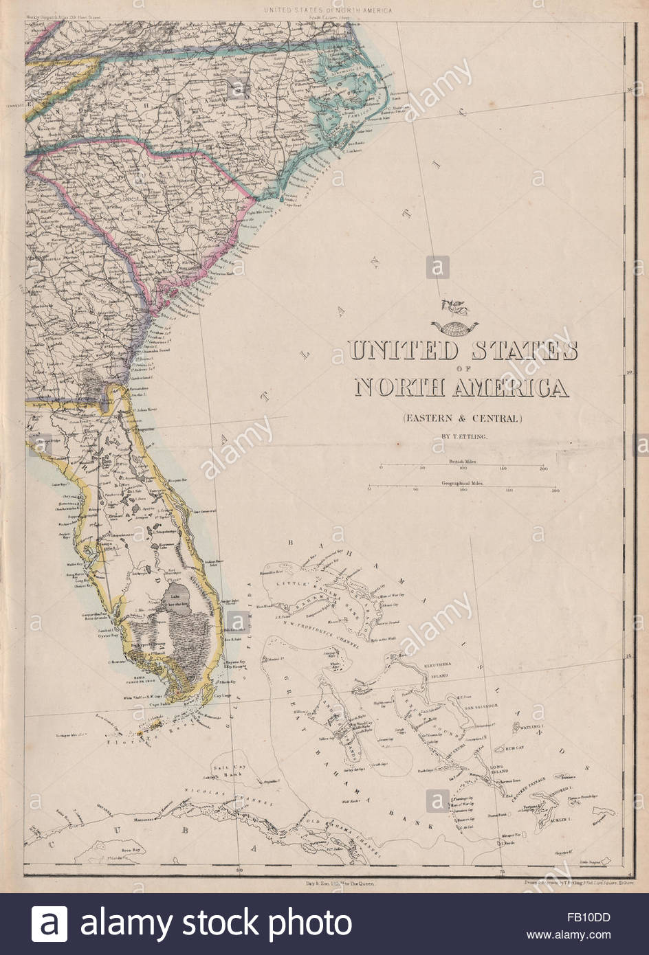 Usa South East. Florida Georgia Carolina Coast Bahamas. Ettling - Map Of Florida And Bahamas