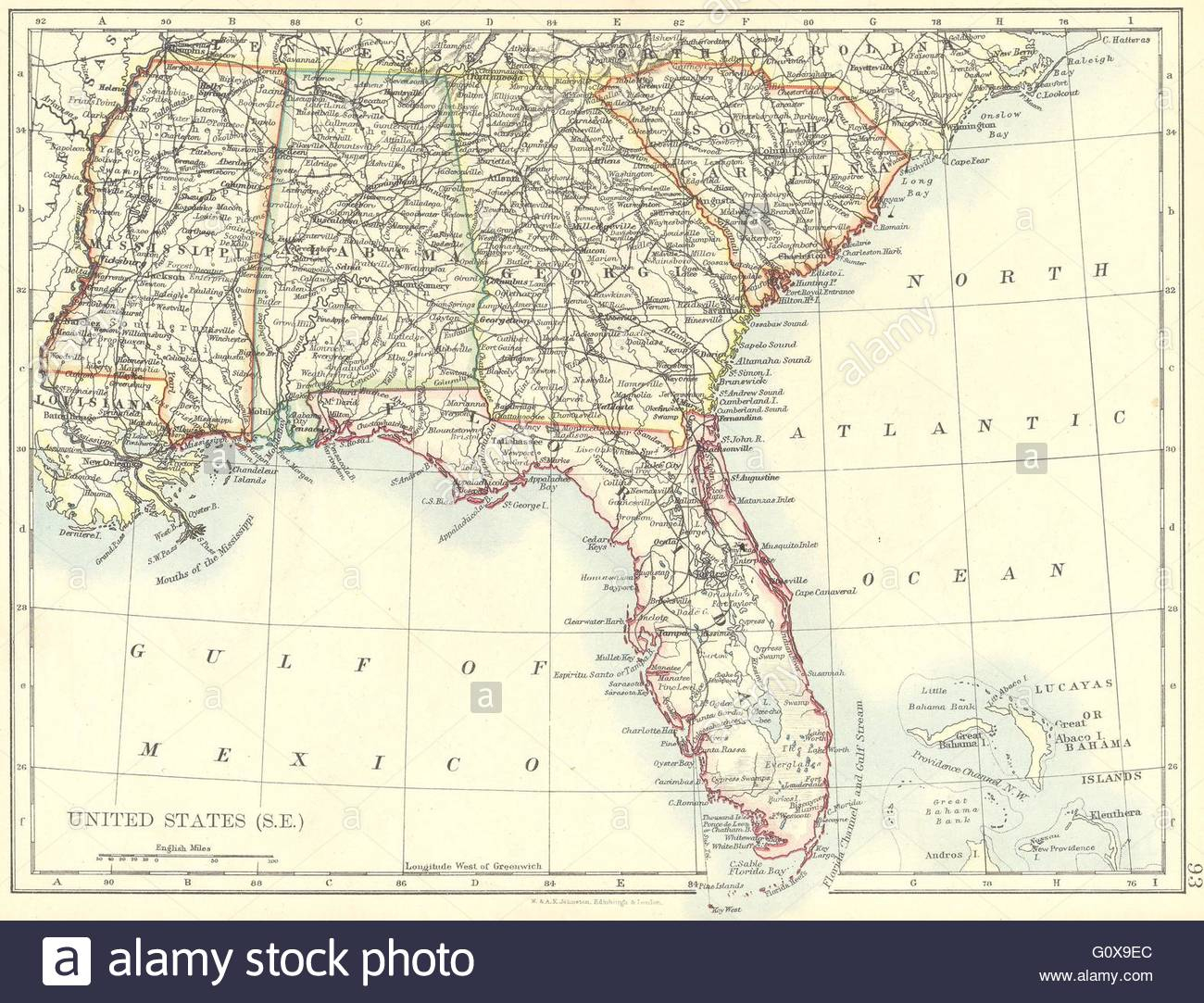 Usa: South East: Florida Georgia South Carolina Mississippi Alabama - Map Of Alabama And Florida
