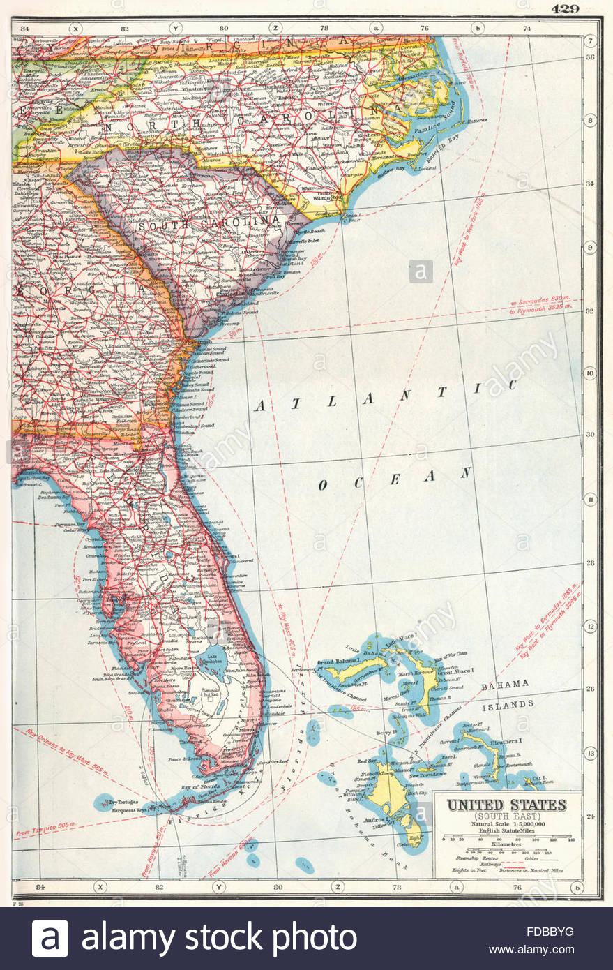 Usa: South East: Florida North Carolina South Carolina Georgia, 1920 - Florida North Map