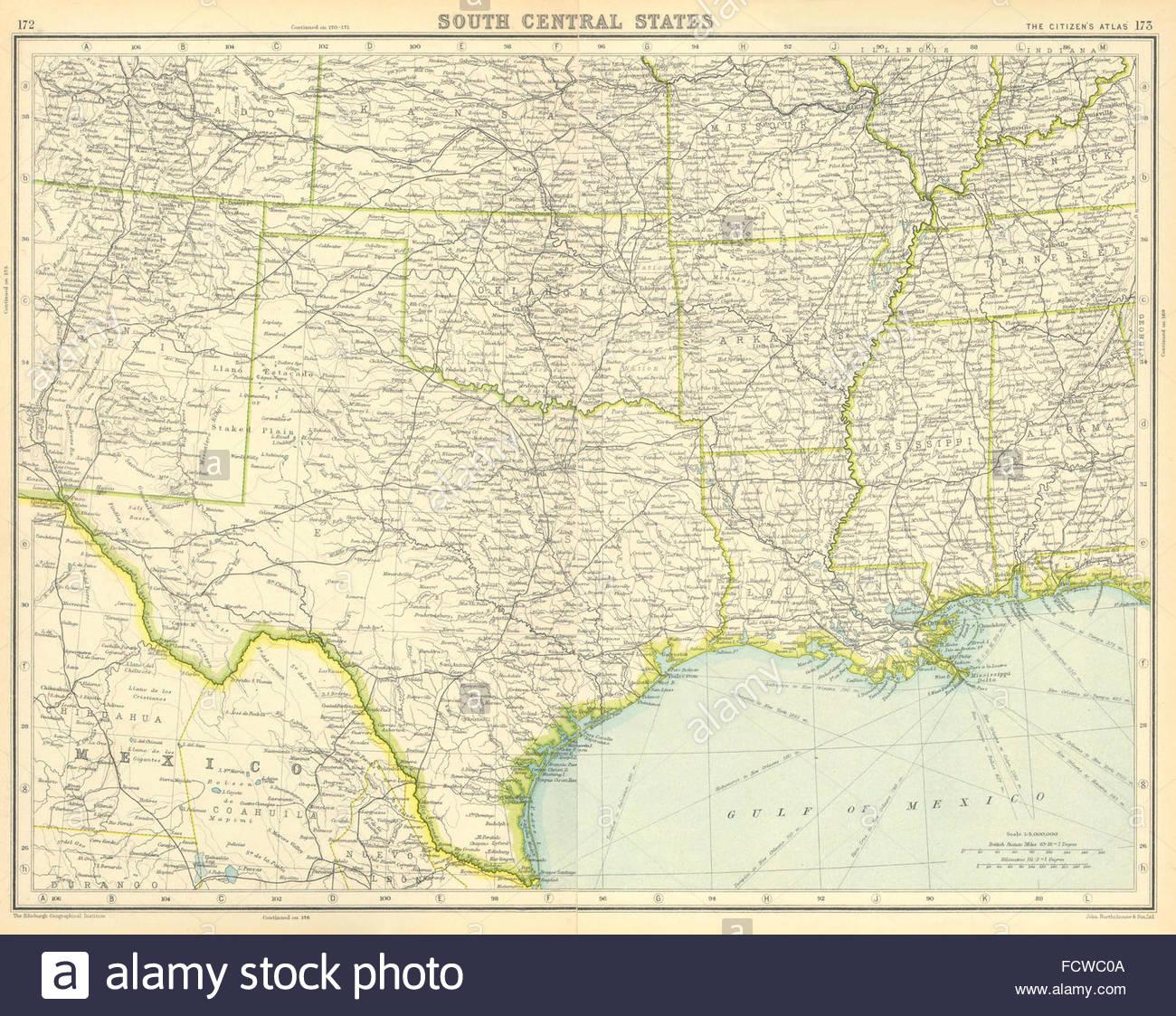 Usa : Texas Louisiane Du Sud Tennessee Arkansas Mississippi - Map Of Texas And Arkansas