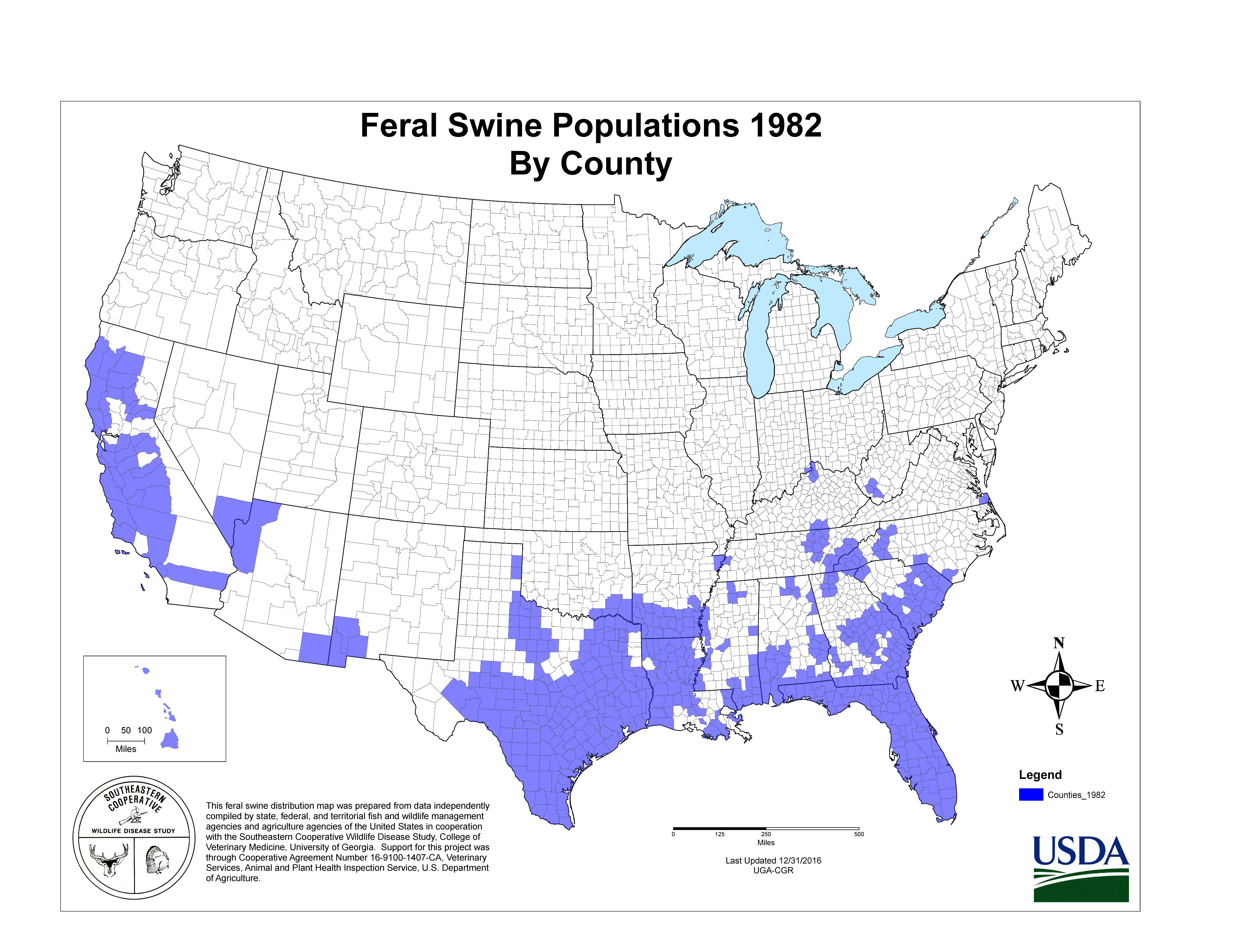 Usda Aphis | History Of Feral Swine In The Americas - Florida Wild Hog Population Map