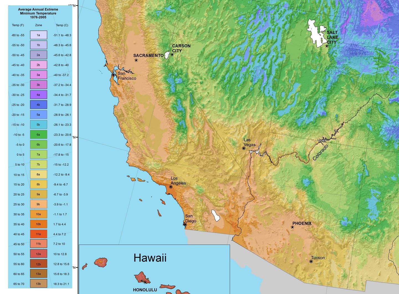 Usda Plant Hardiness Zone Map Enlargement Of South West High Rez - California Hardiness Zone Map