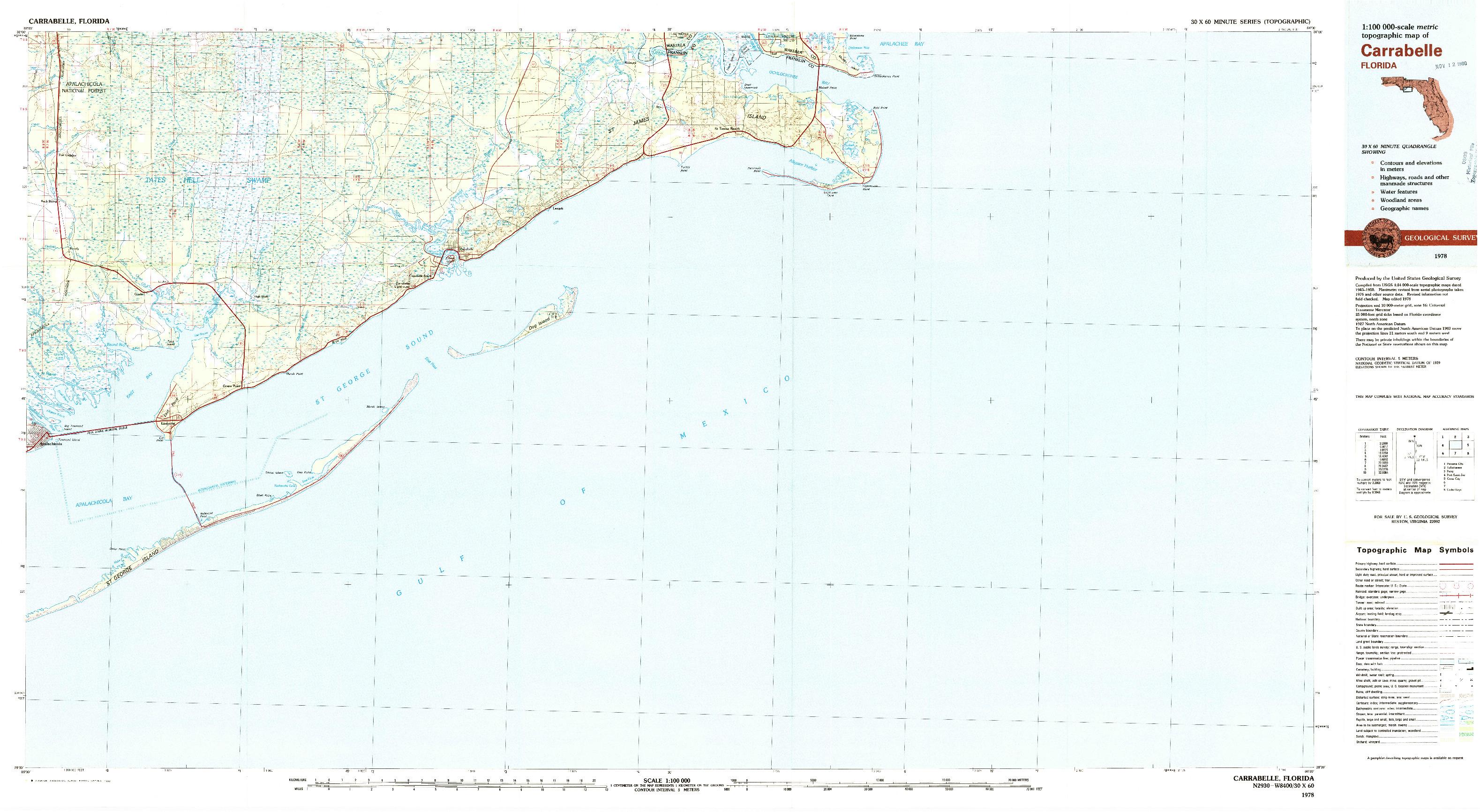 Usgs 1:100000-Scale Quadrangle For Carrabelle, Fl 1978 - Carrabelle Florida Map