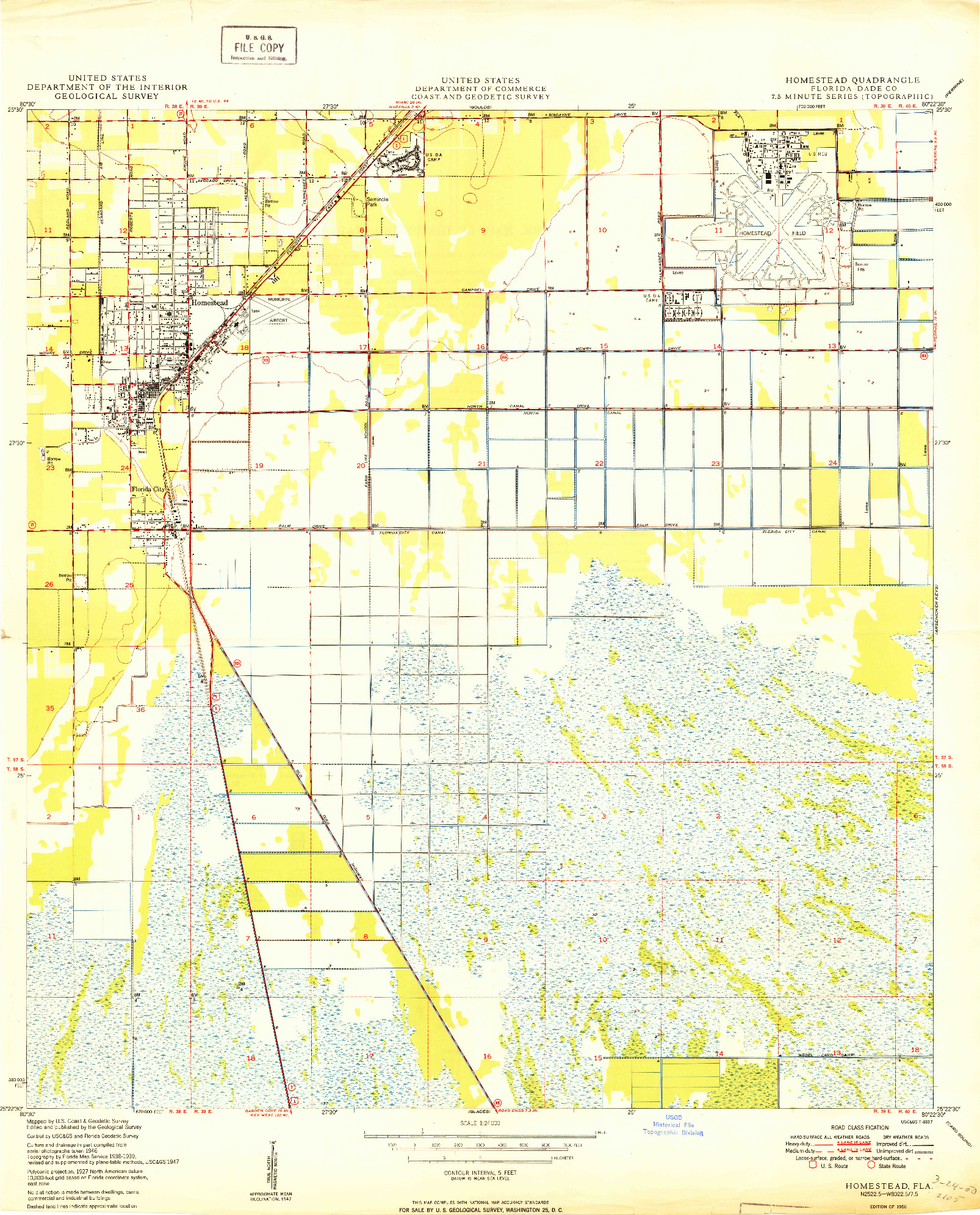 Usgs 1:24000-Scale Quadrangle For Homestead, Fl 1950 - Homestead Florida Map