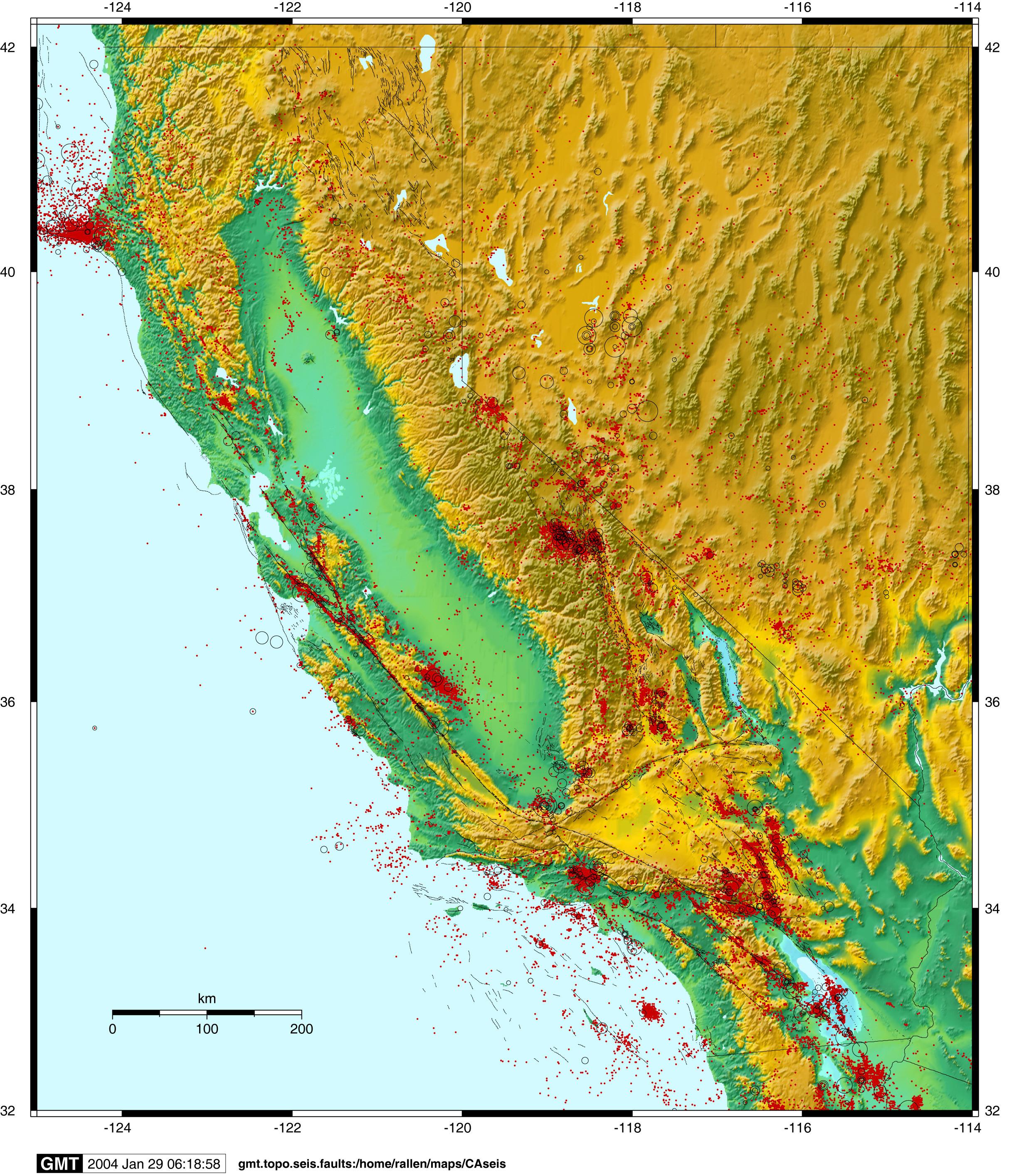Usgs California Nevada Earthquake Map Outline Richard Allen - Usgs California Nevada Earthquake Map
