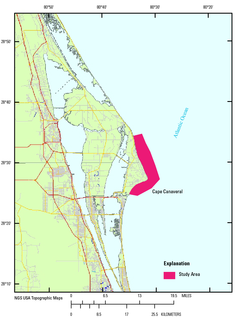 Usgs Data Series 957: Archive Of Bathymetry Data Collected At Cape - Port Canaveral Florida Map