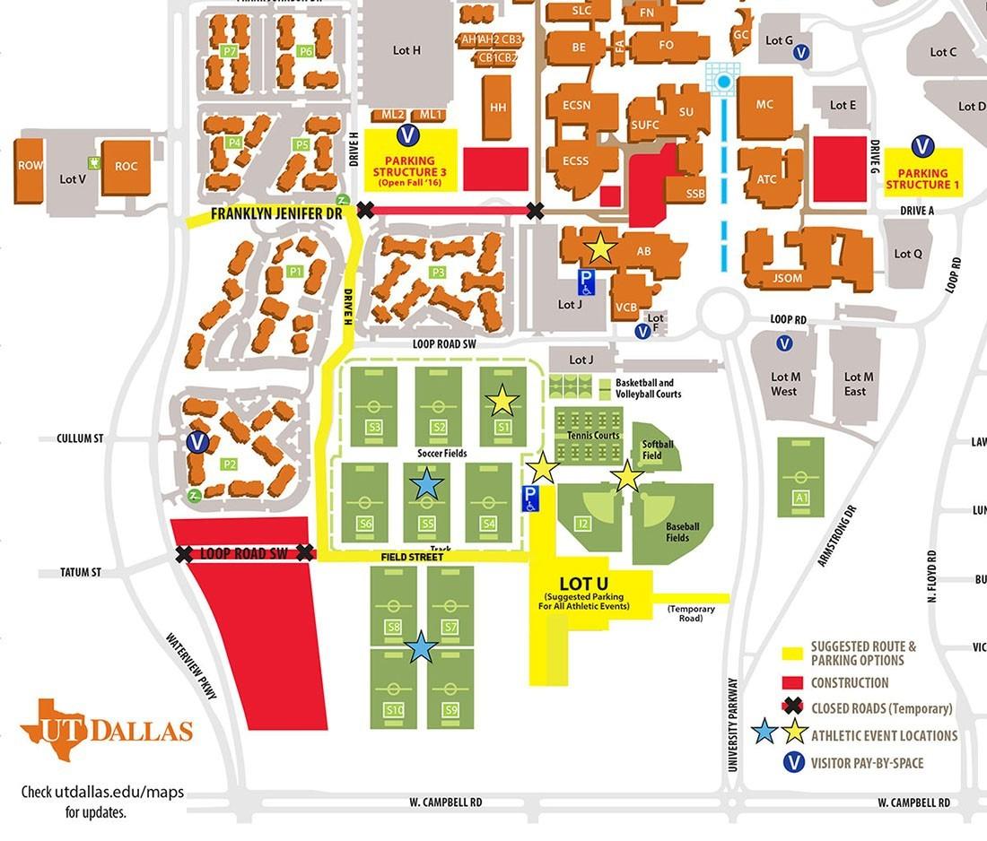 Ut Dallas Athletic Event Visitors' Parking Instructions - University - University Of Texas Football Parking Map 2016