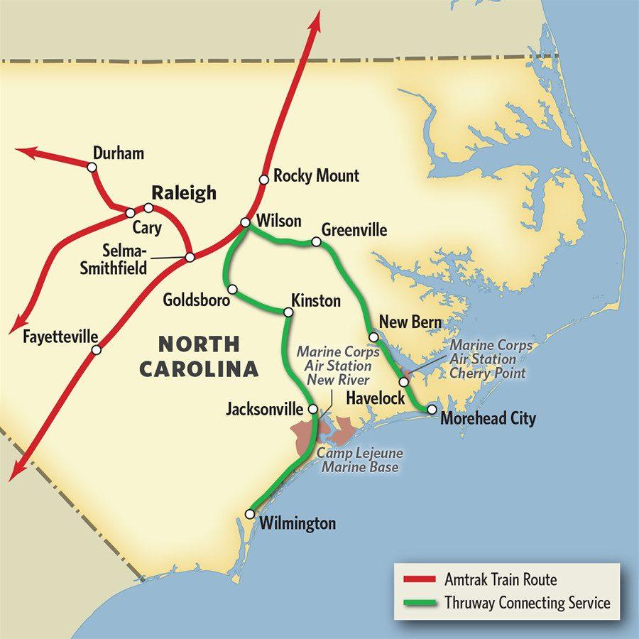 Vacations In North Carolinatrain & Thruway Bus | Amtrak - Amtrak Florida Route Map