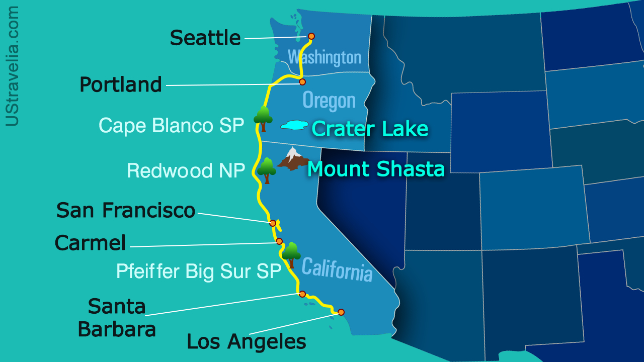 Valuable Tips For Planning A Drive From Seattle To Los Angeles In - Seattle To California Road Trip Map