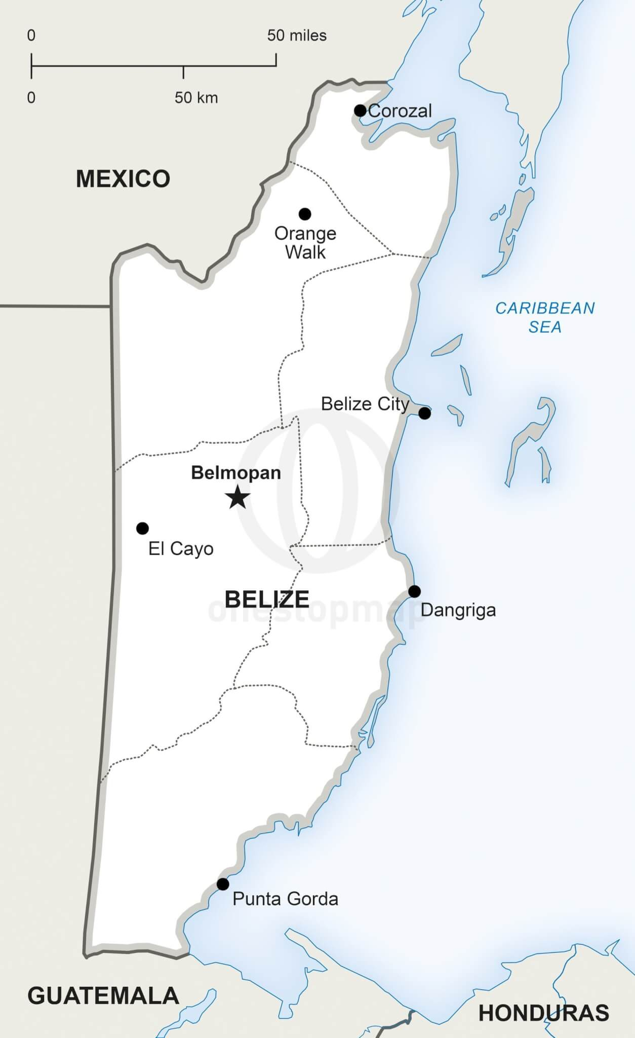 Vector Map Of Belize Political | One Stop Map - Printable Map Of Belize