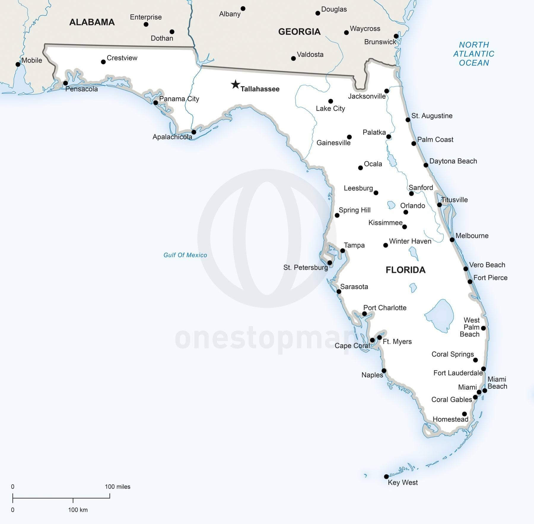 Vector Map Of Florida Political | One Stop Map - Map Of Florida
