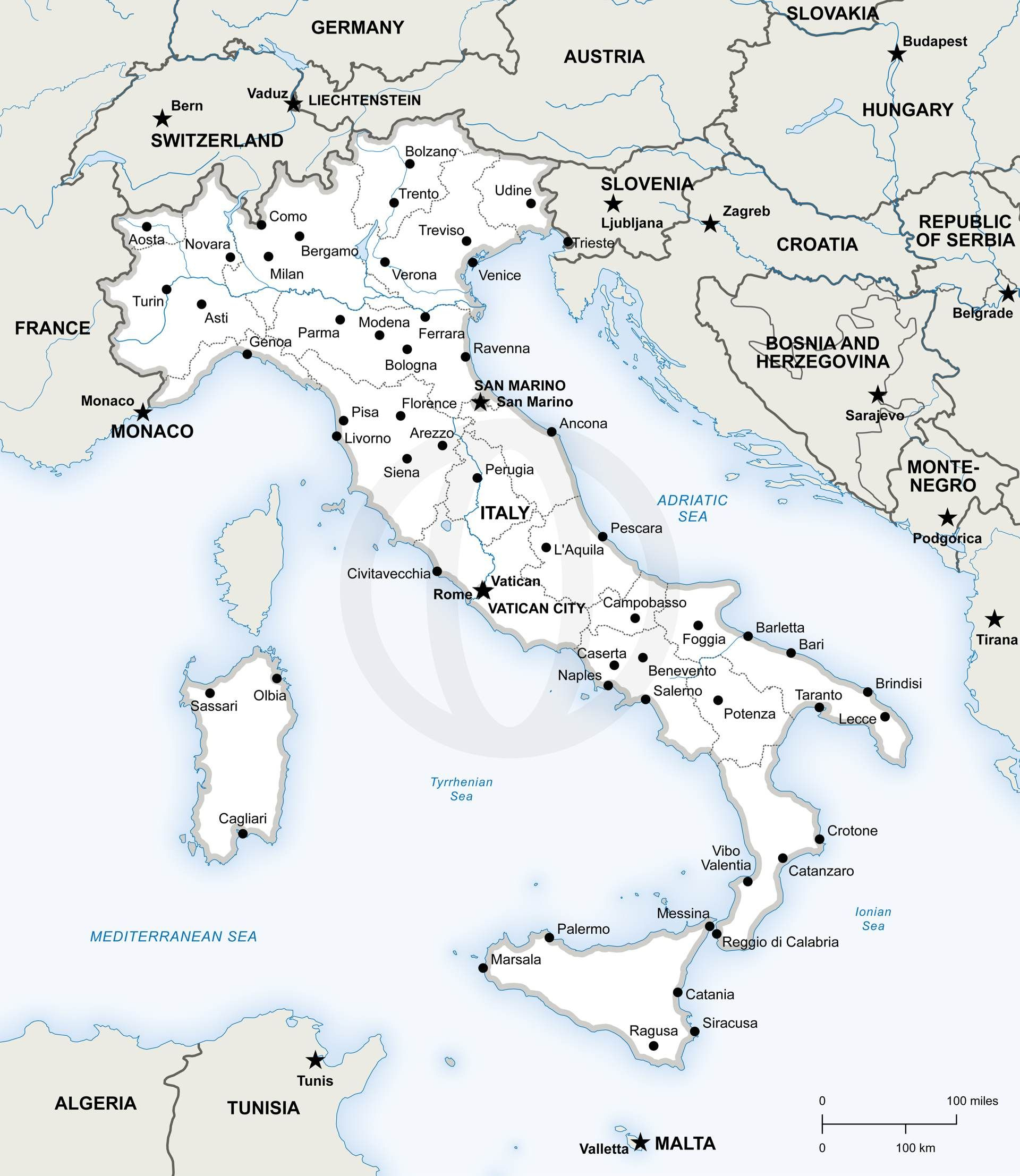 Vector Map Of Italy Political In 2019 | Free Printables | Pinterest - Printable Map Of Italy