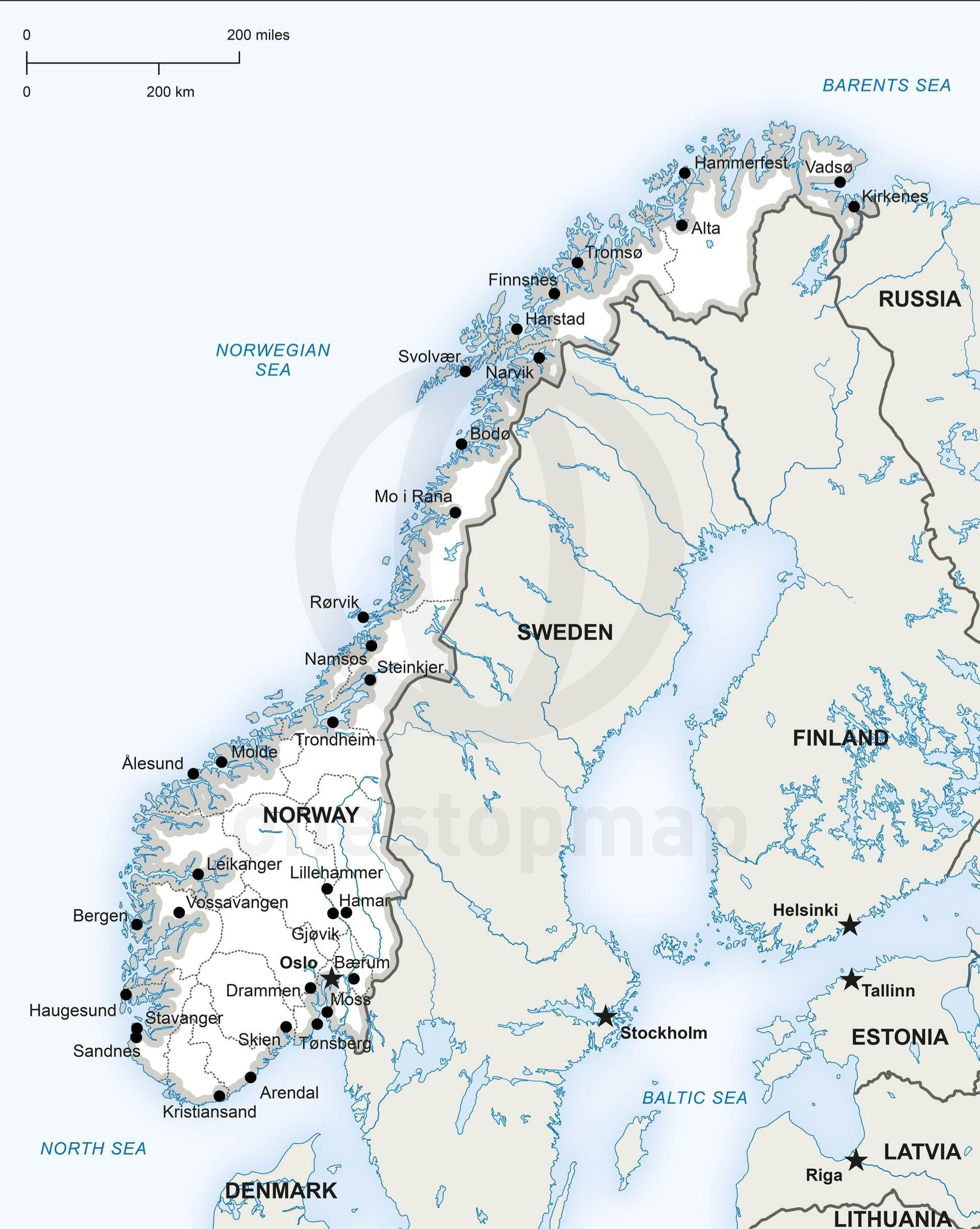 Vector Map Of Norway Political | Homeschool | Norway Map, Stavanger - Printable Map Of Oslo Norway